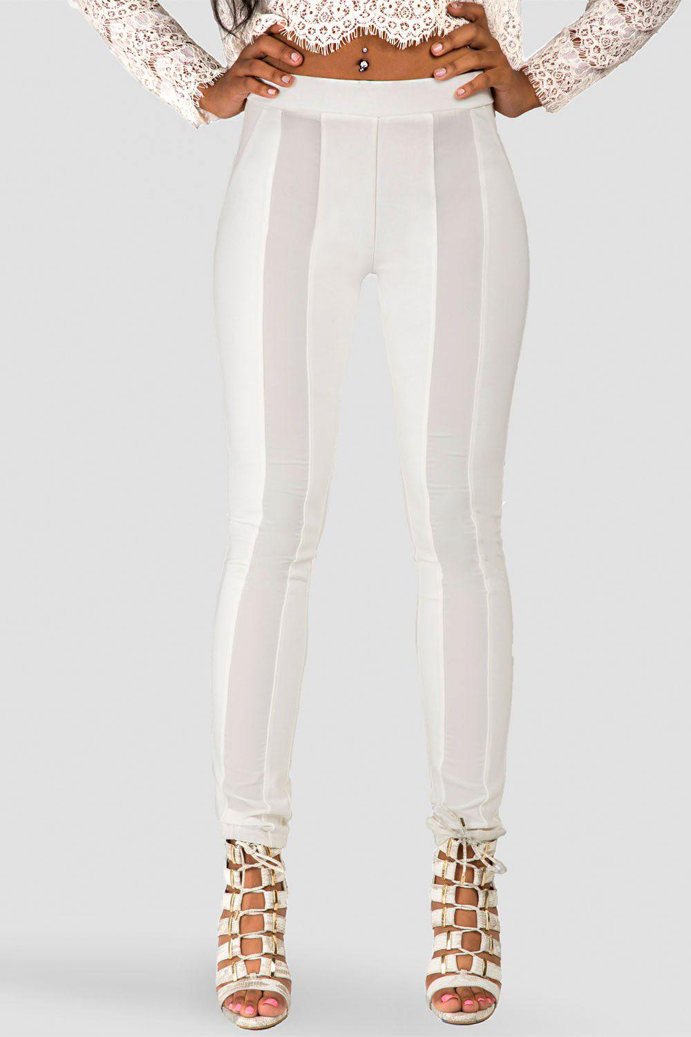 Cindy Ivory Ponte Legging with Sheer Panel