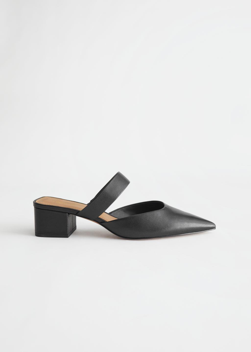 Pointed Block Heel Leather Mules