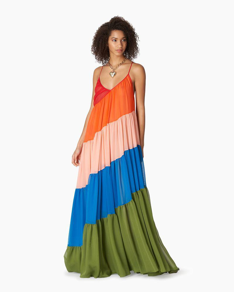 Diagonal Tiered Organza Gown