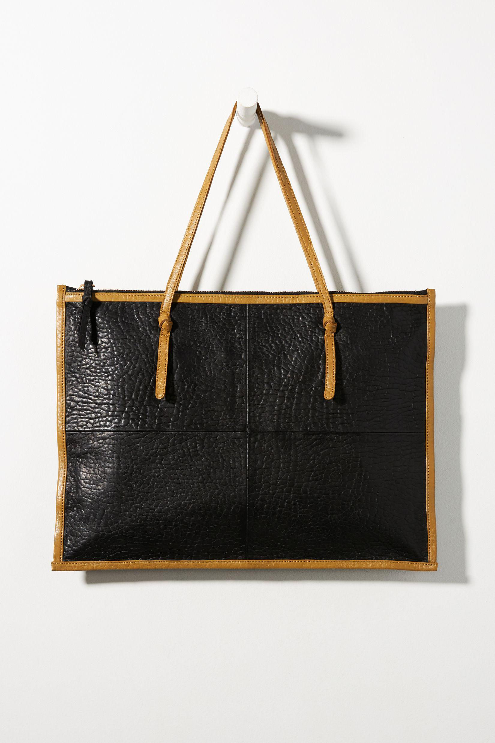 Contrast-Trimmed Leather Tote Bag