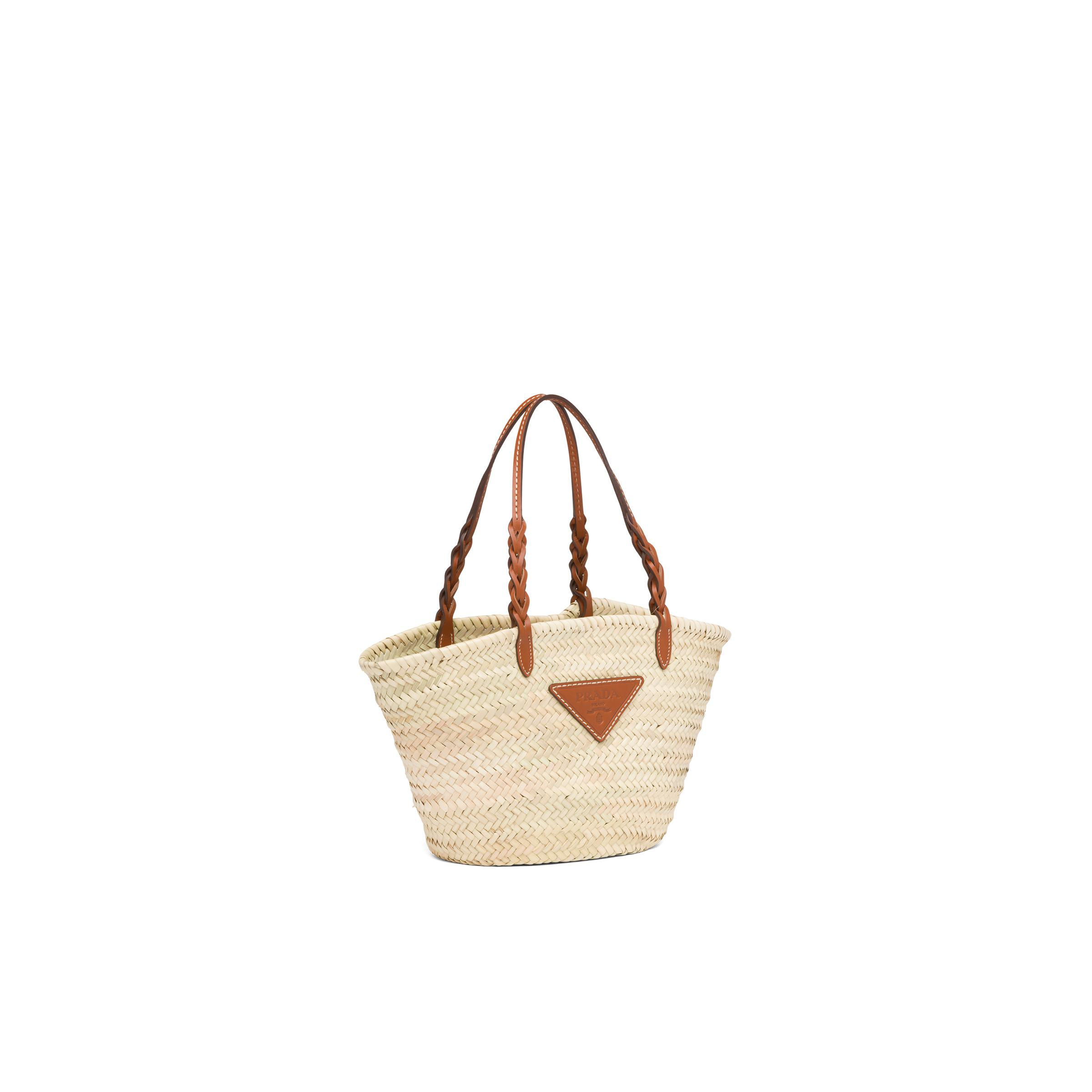 Woven Palm And Leather Tote Women Beige/cognac 2