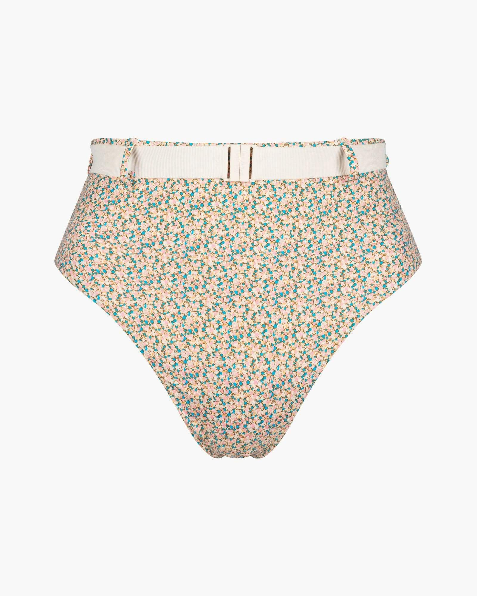 Belted high waist bikini bottoms made with dizzy floral Liberty Fabric 2