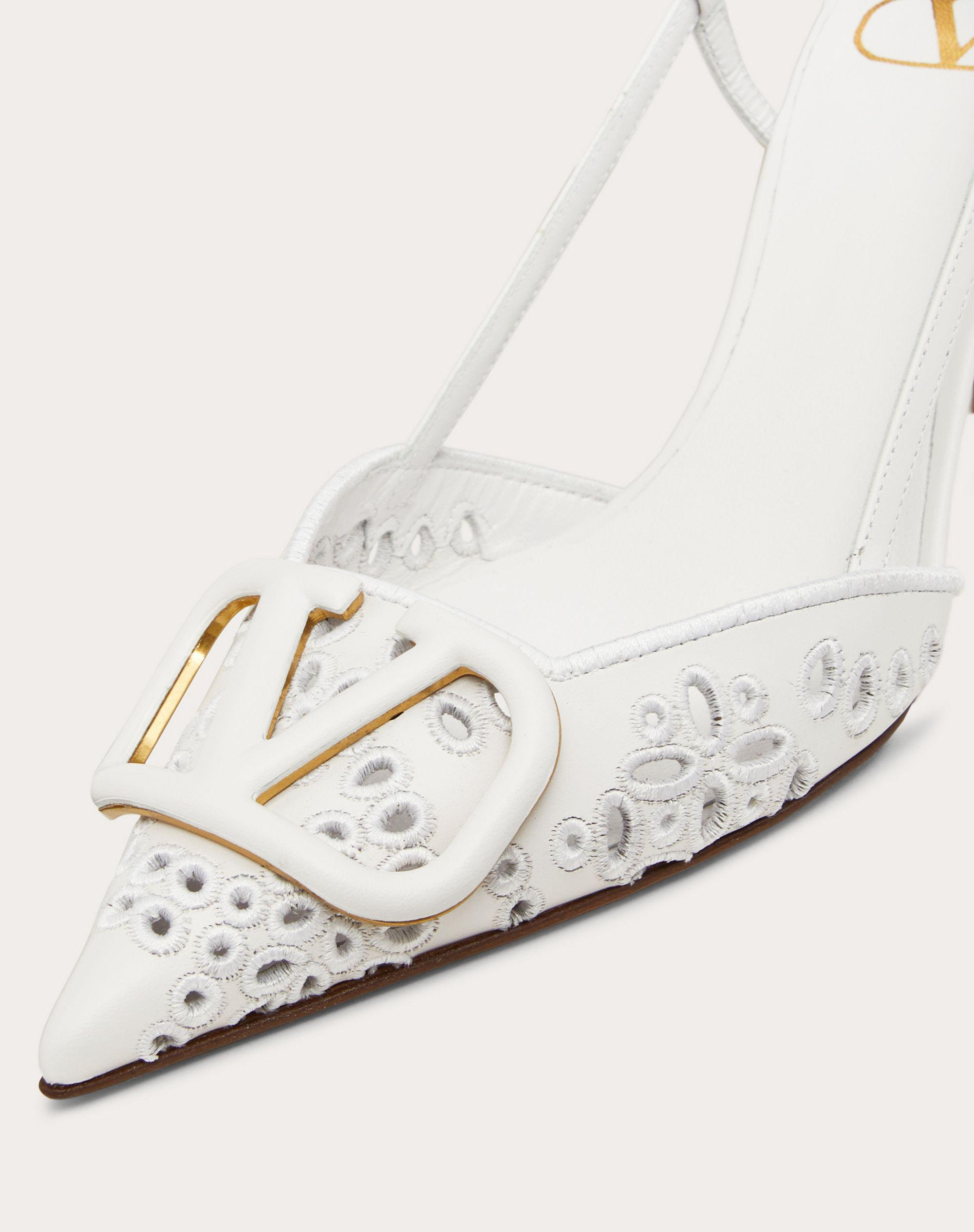 VLOGO SIGNATURE CALFSKIN SLINGBACK PUMP WITH SAN GALLO EMBROIDERY 80 MM 4