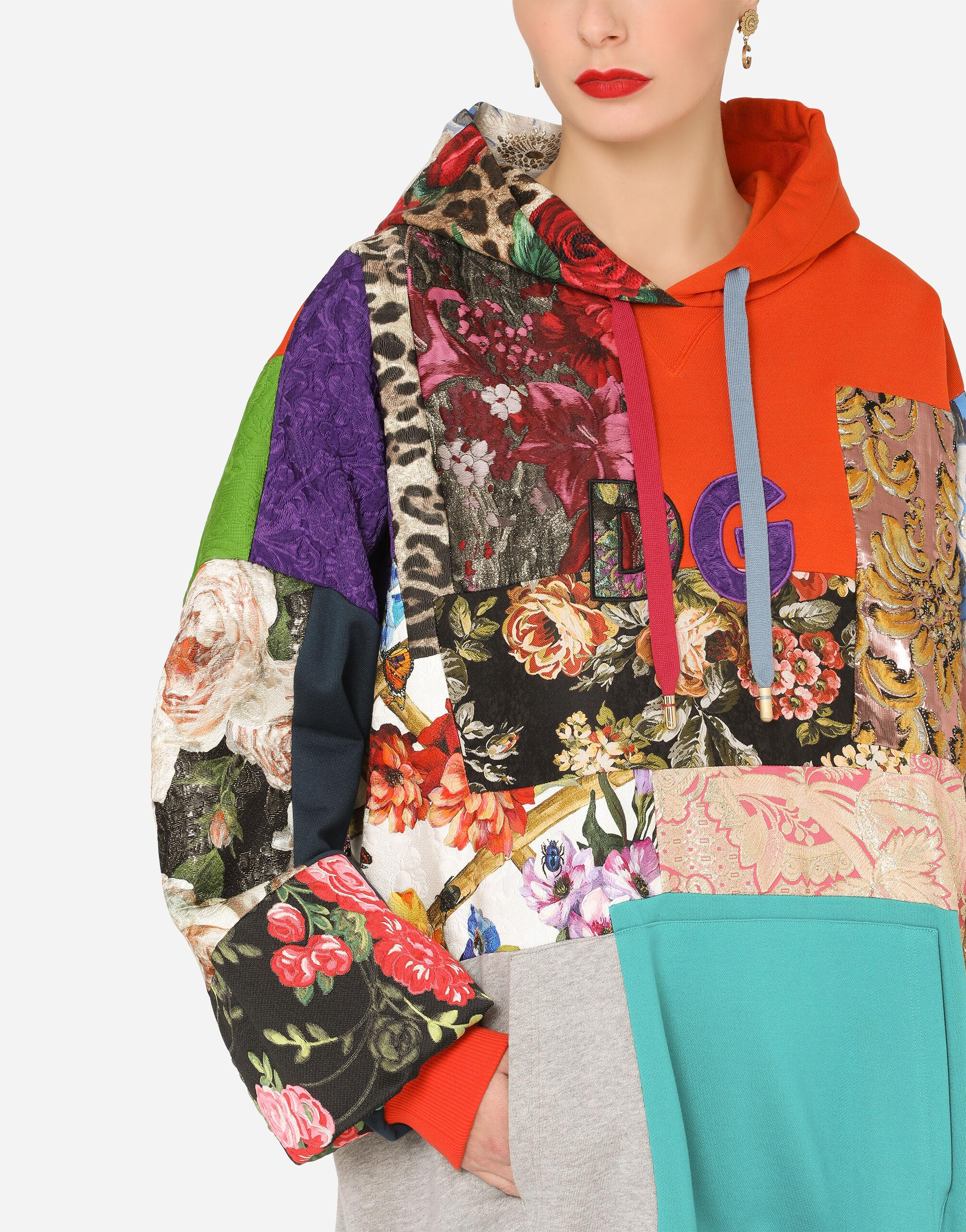 Patchwork jersey hoodie with DG embroidery 2