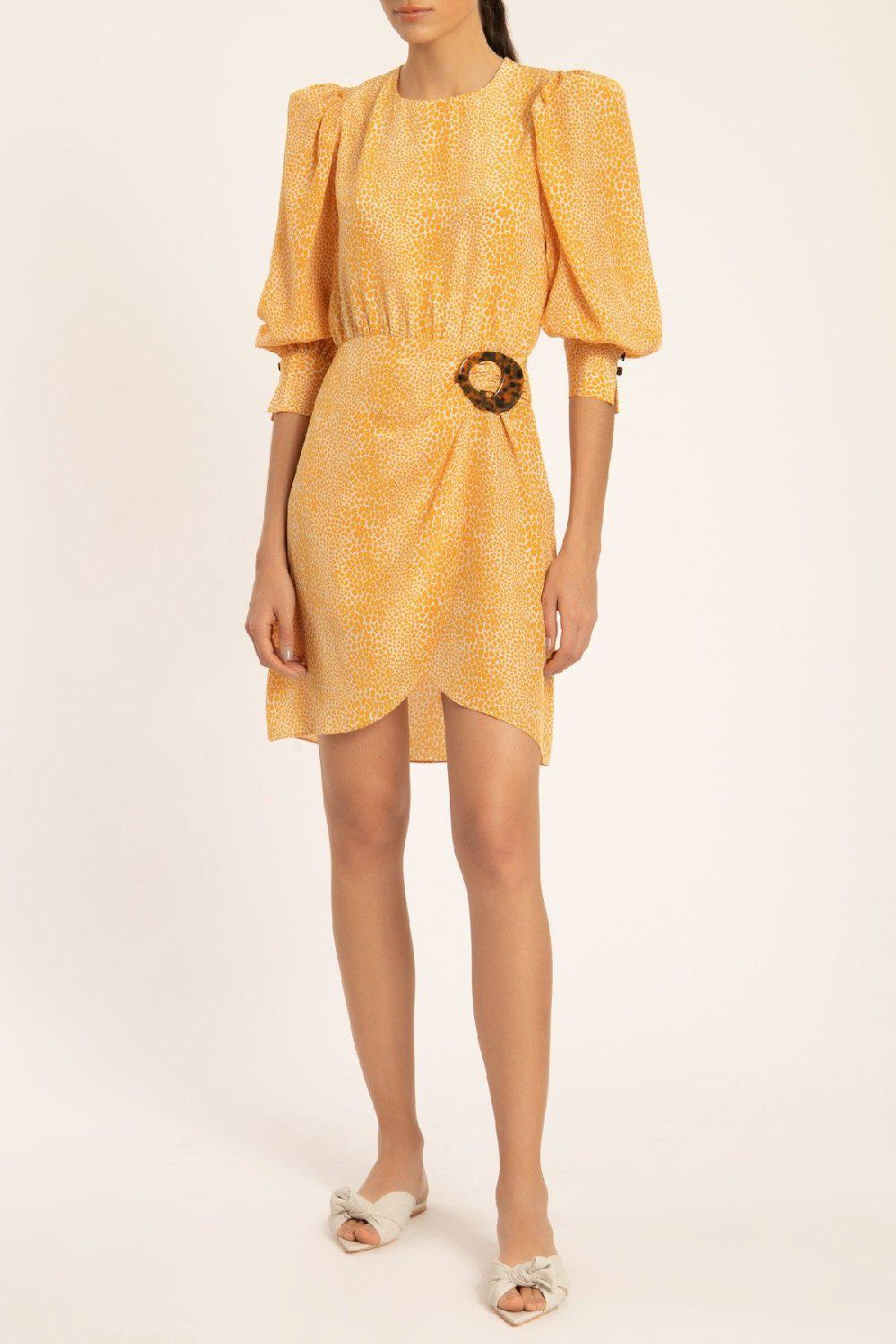 Tortoise Short Dress With Buckle