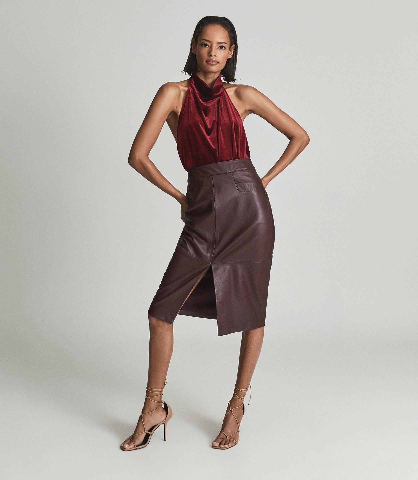 LUCIE - LEATHER PENCIL SKIRT