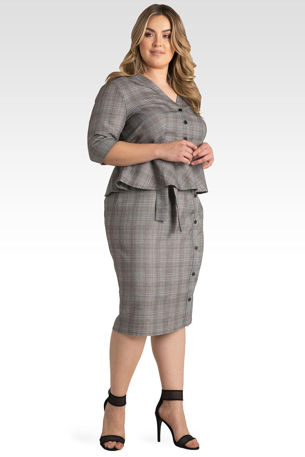 Plus Size Glen Plaid Suiting Button Front Paper Bag Waist Belted Skirt