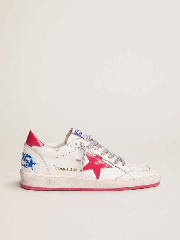 Ball Star LTD sneakers in white leather with red patent leather detail