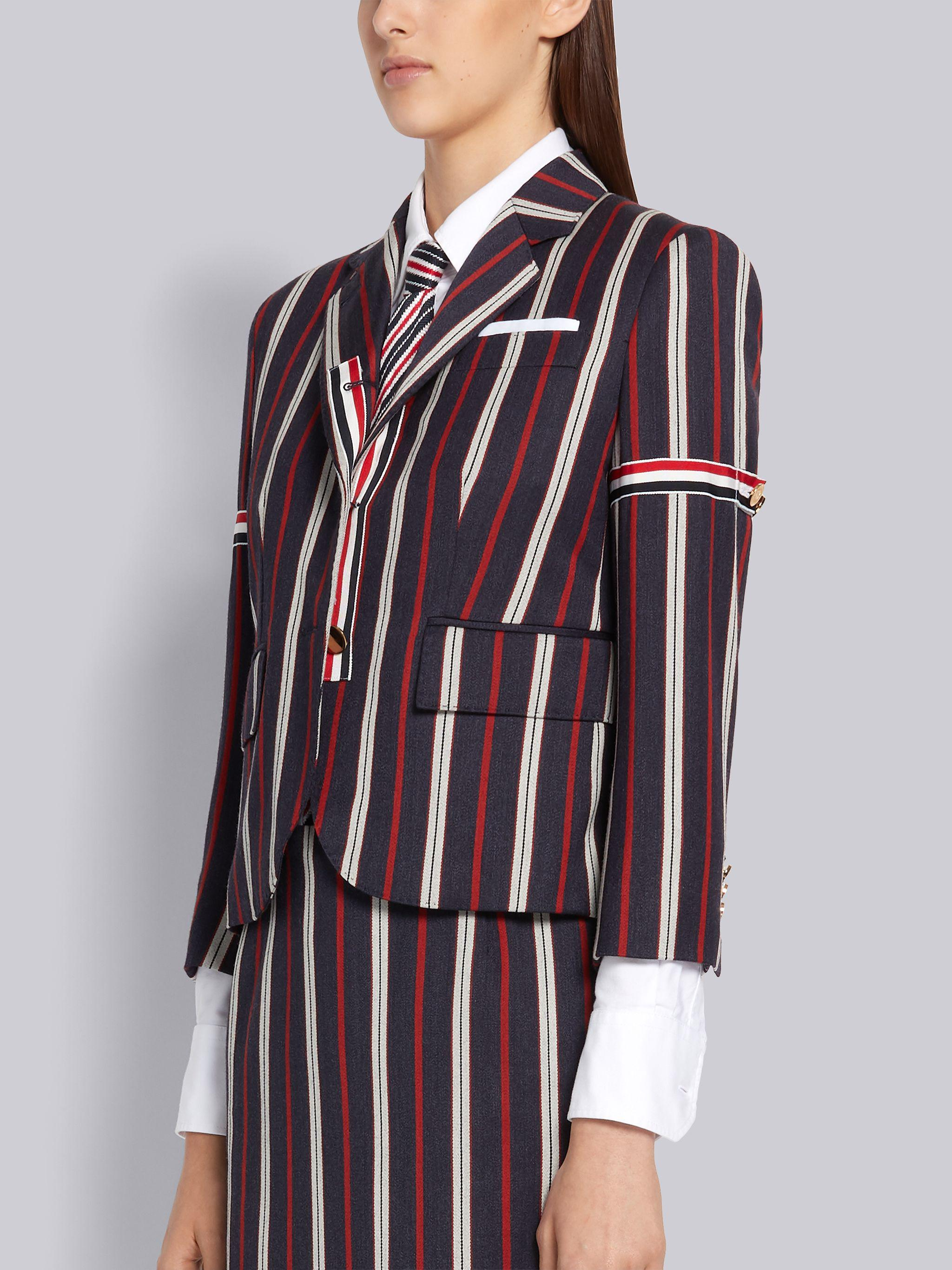 Multi-Color Wool Cotton Suiting Variegated Rep Stripe High Armhole Jacket 1
