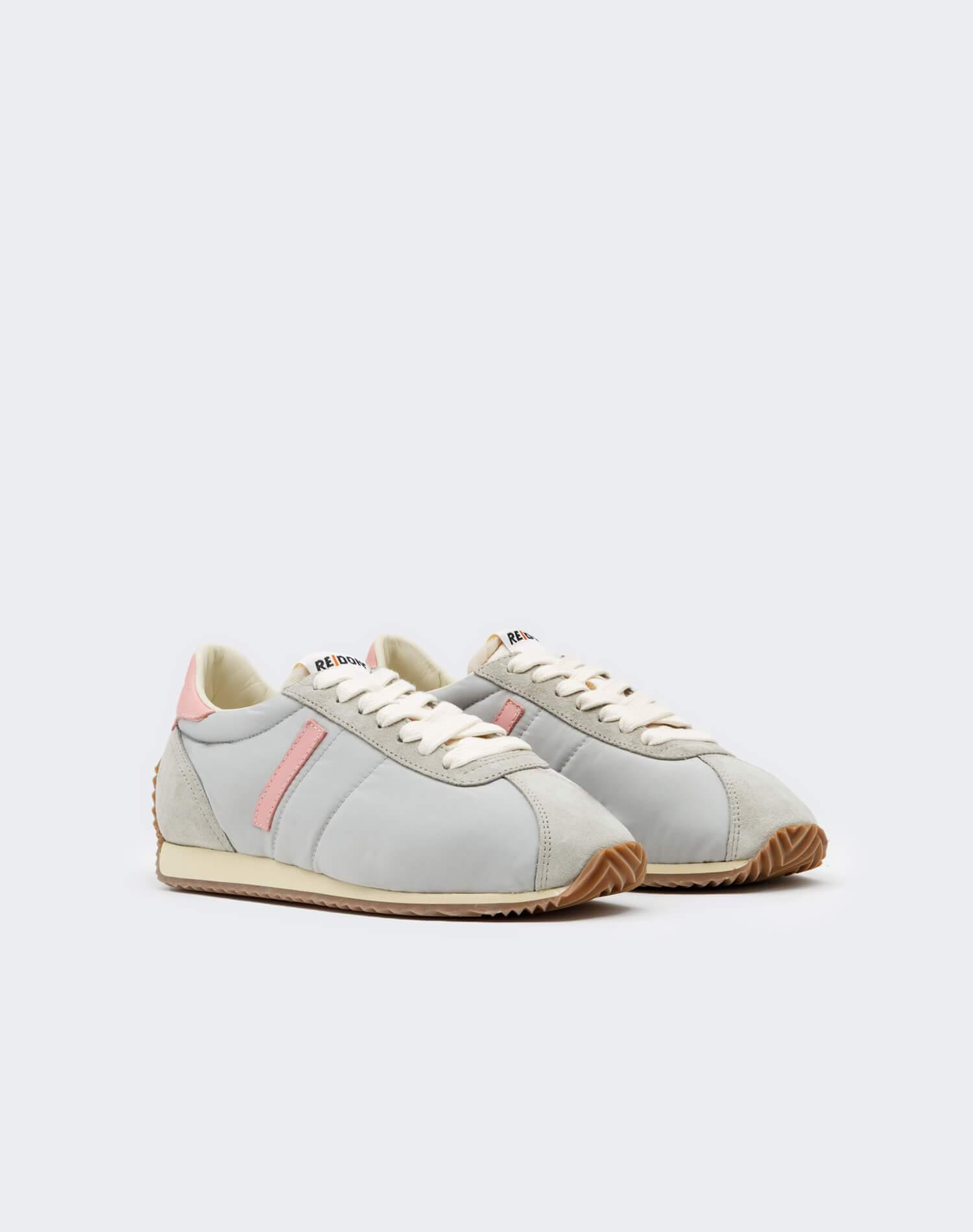 70s Runner Shoe - Light Grey and Pink 1