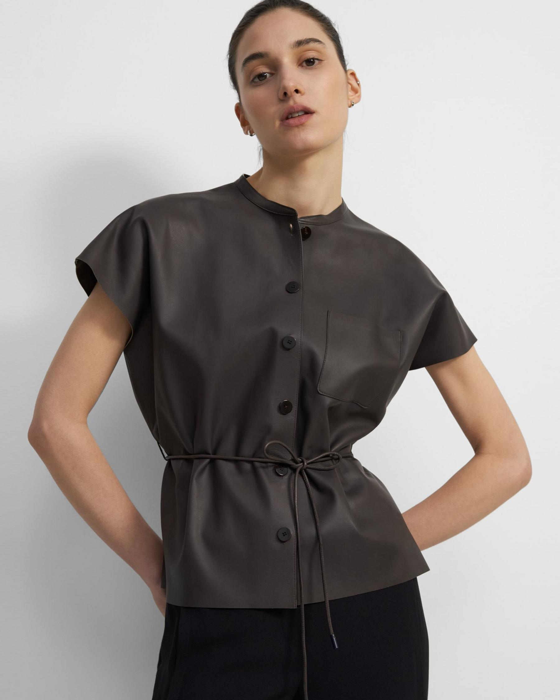 Triangle Shirt in Paper Faux Leather