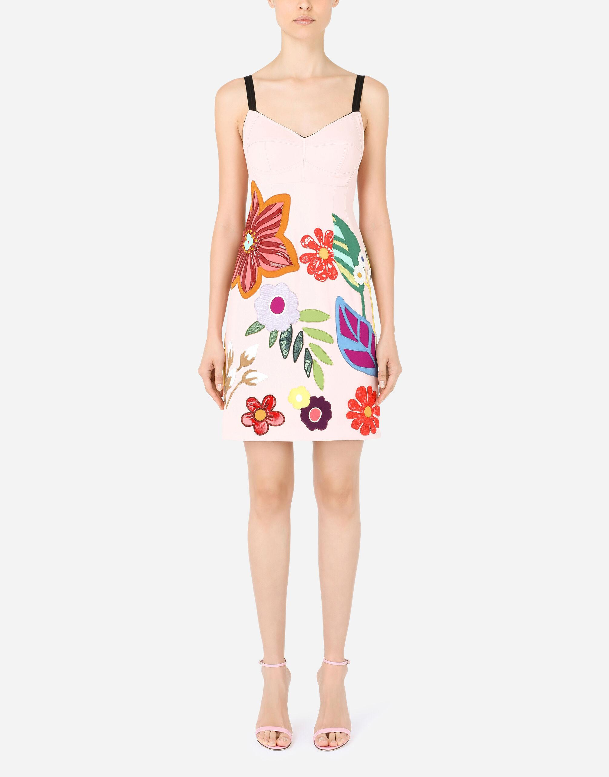 Short cady slip dress with floral patches
