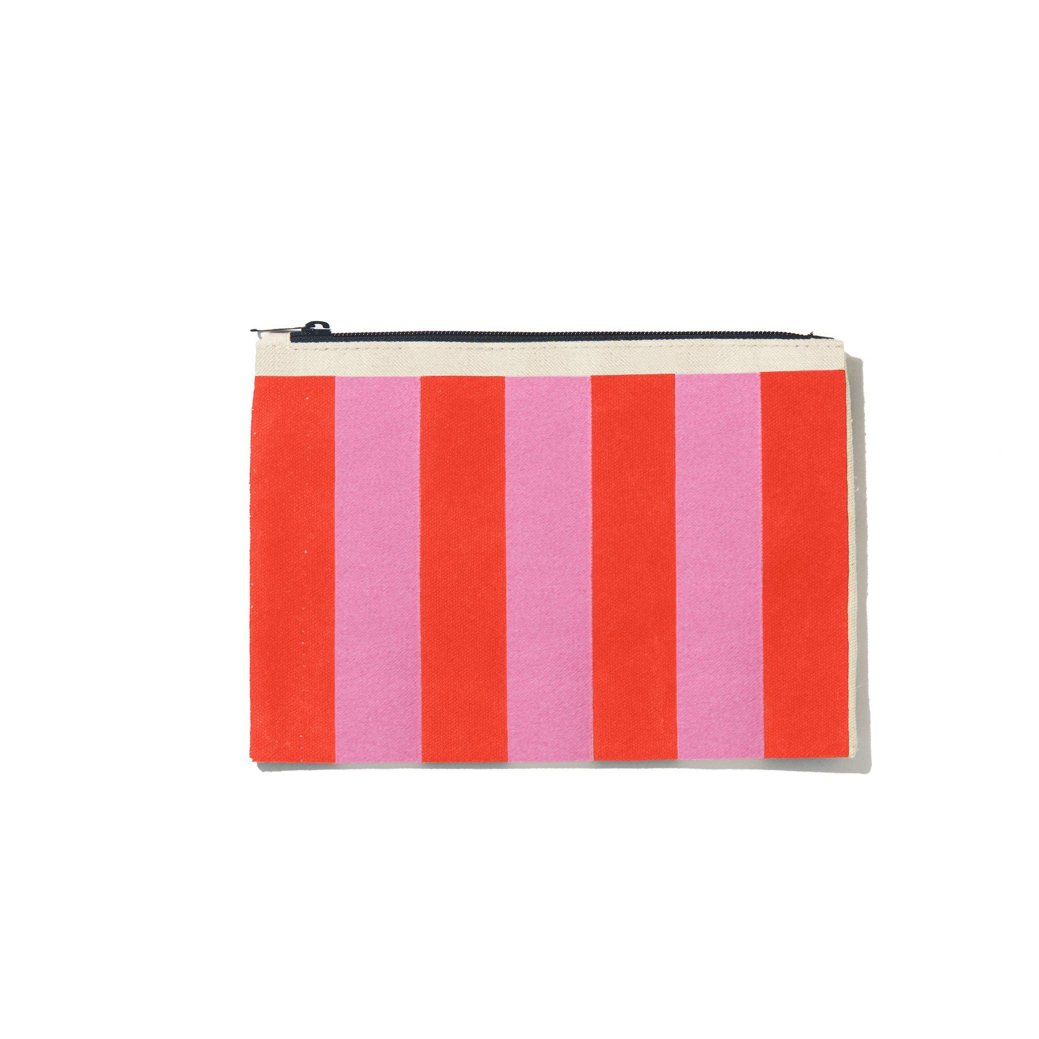 The All Over Striped Pouch - Pink/Poppy