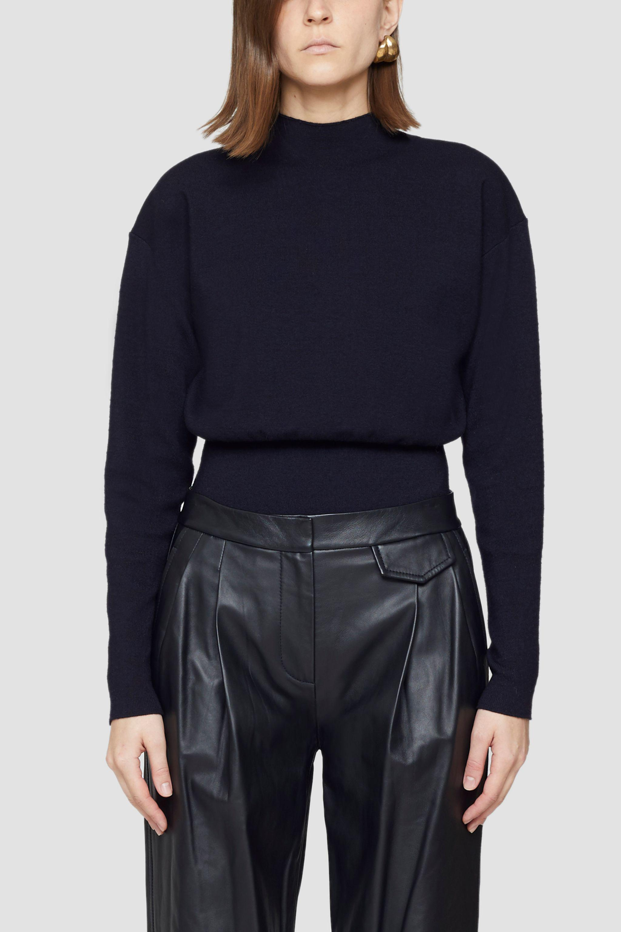 Mock Neck Military Ribbed Sweater