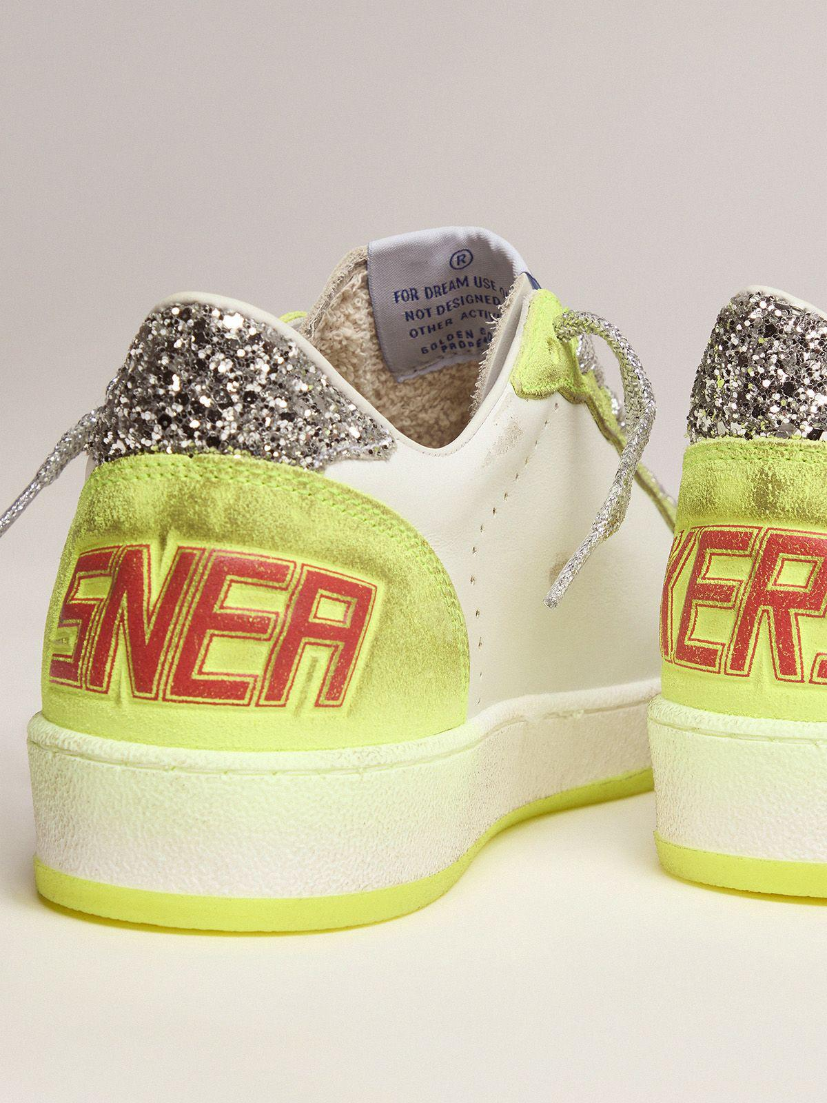 White Ball Star sneakers with fluorescent yellow inserts and glitter 3