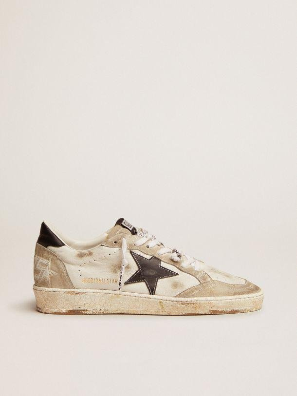 Ball Star sneakers in white leather and ice-gray suede with black leather detail