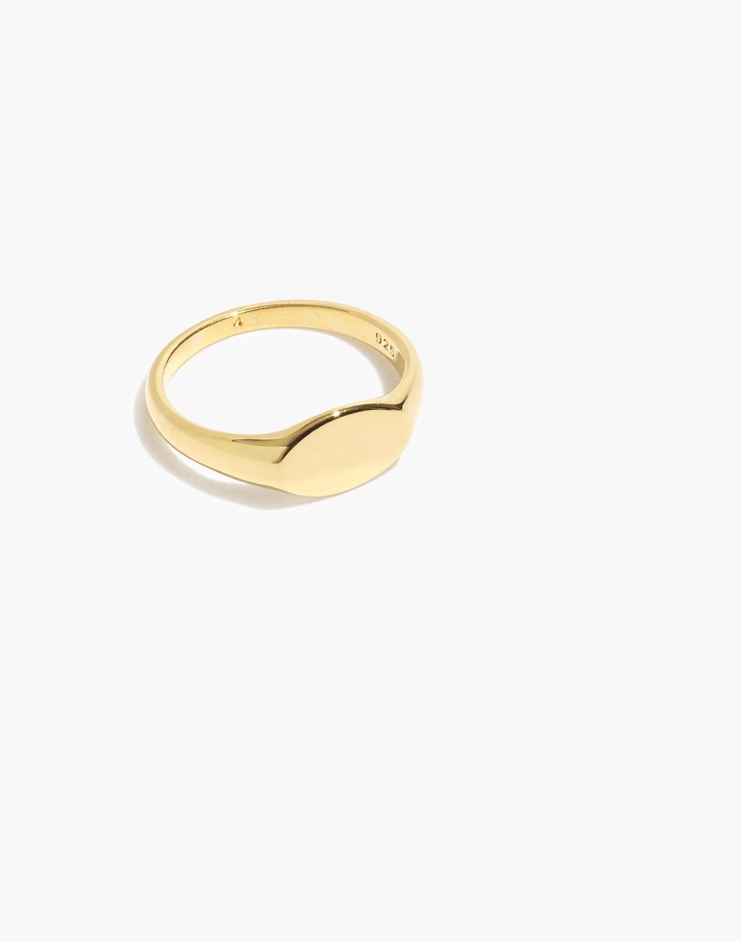 Delicate Collection Demi-Fine 14k Plated Signet Pinky Ring