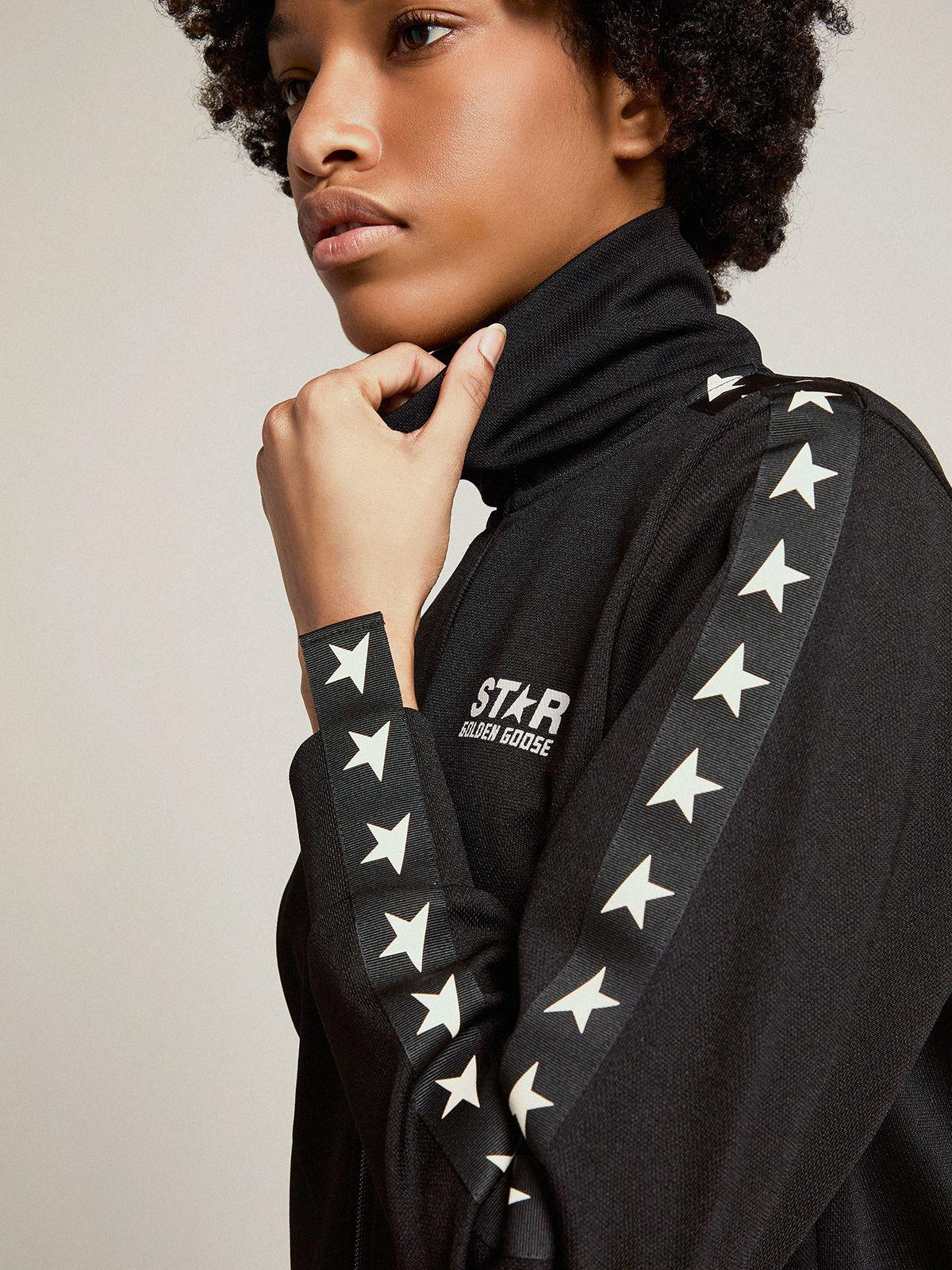 Black Denise Star Collection zipped sweatshirt with contrasting white stars