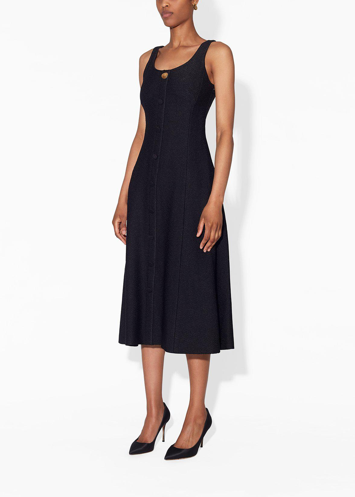 SCOOP NECK FLARE DRESS IN BOUCLE