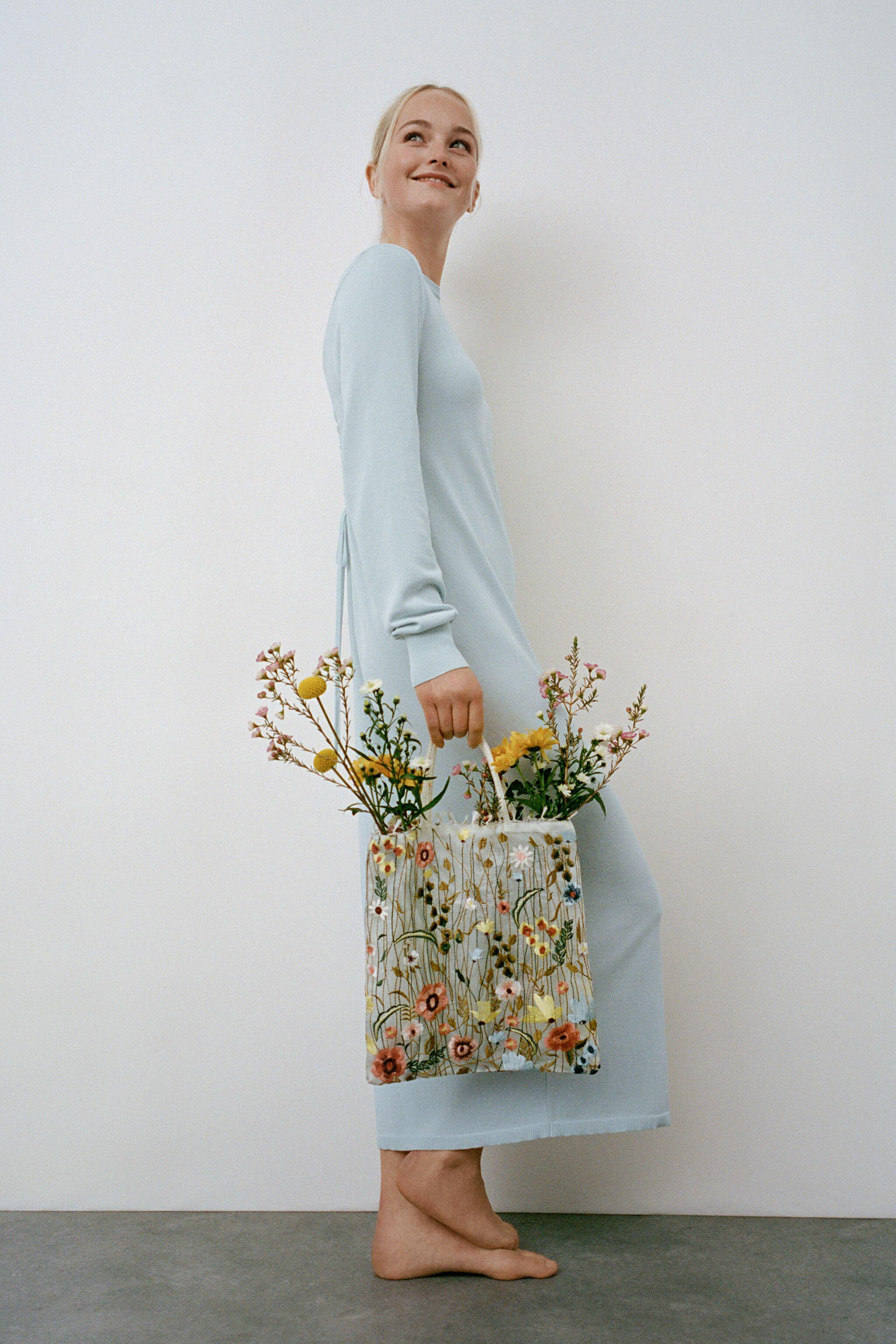 TULLE FLORAL EMBROIDERY TOTE BAG 5