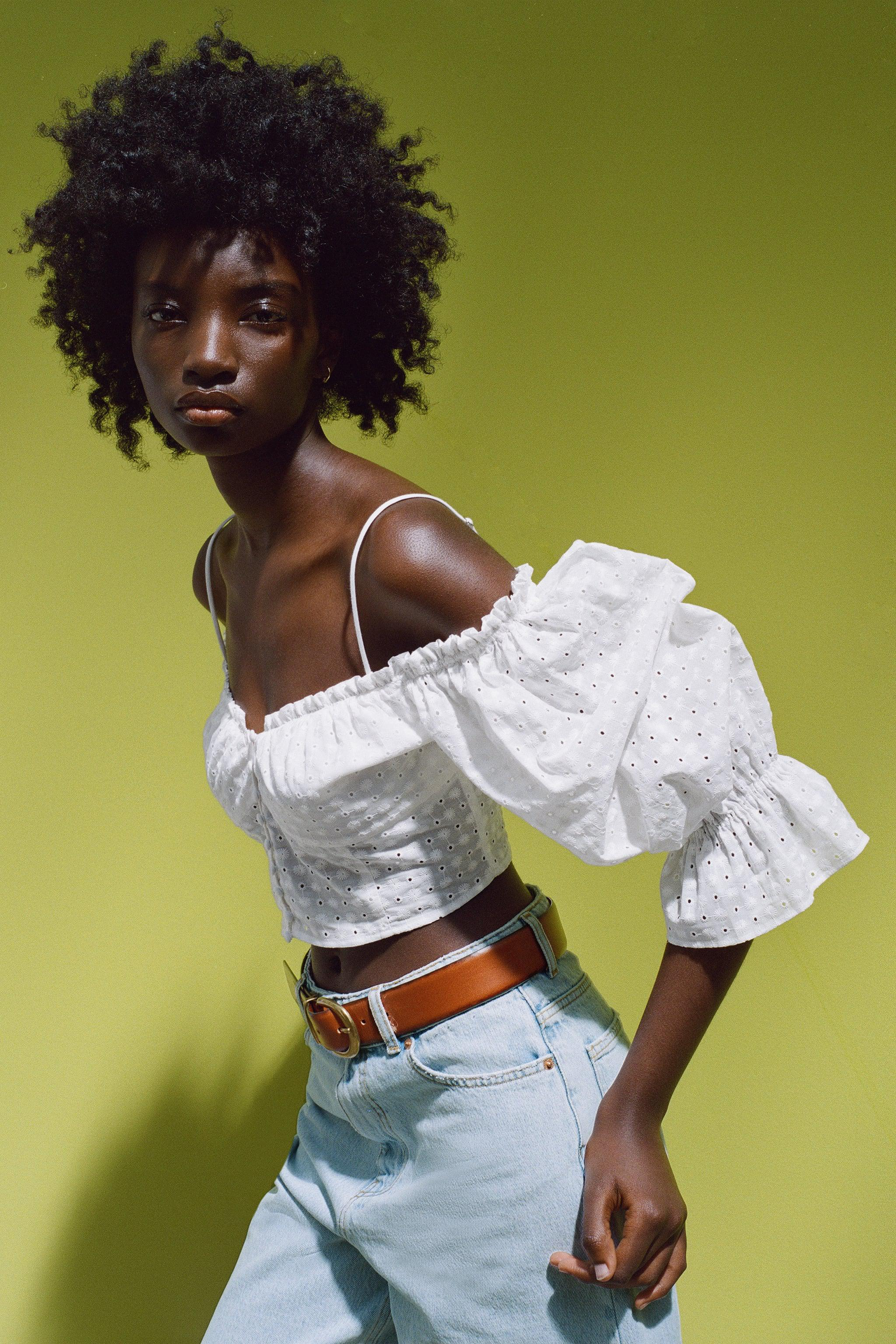 EMBROIDERED EYELET CROP TOP 5