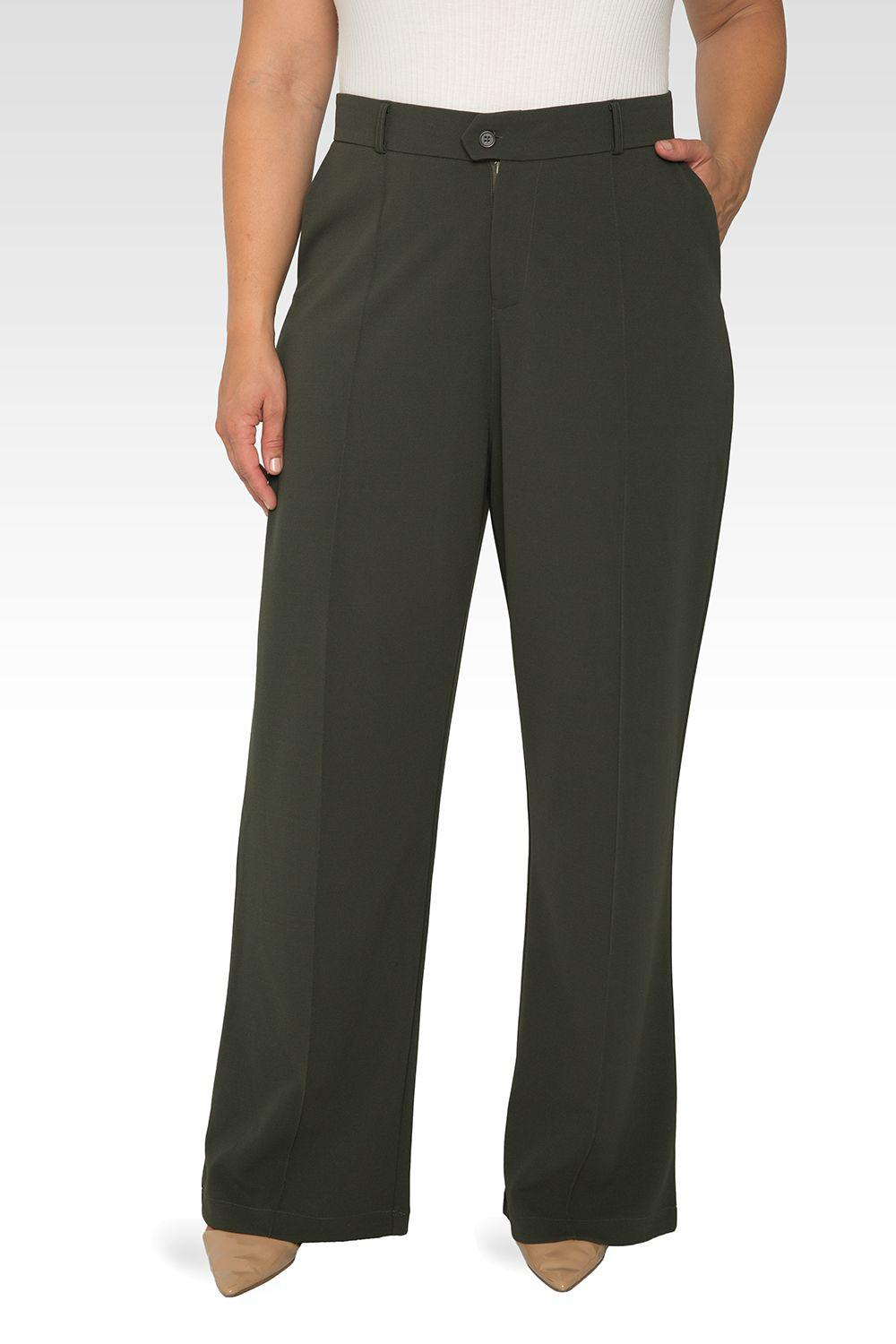 Plus Size Erica Pintuck Stretch Crepe Wide Leg Trouser - Olive