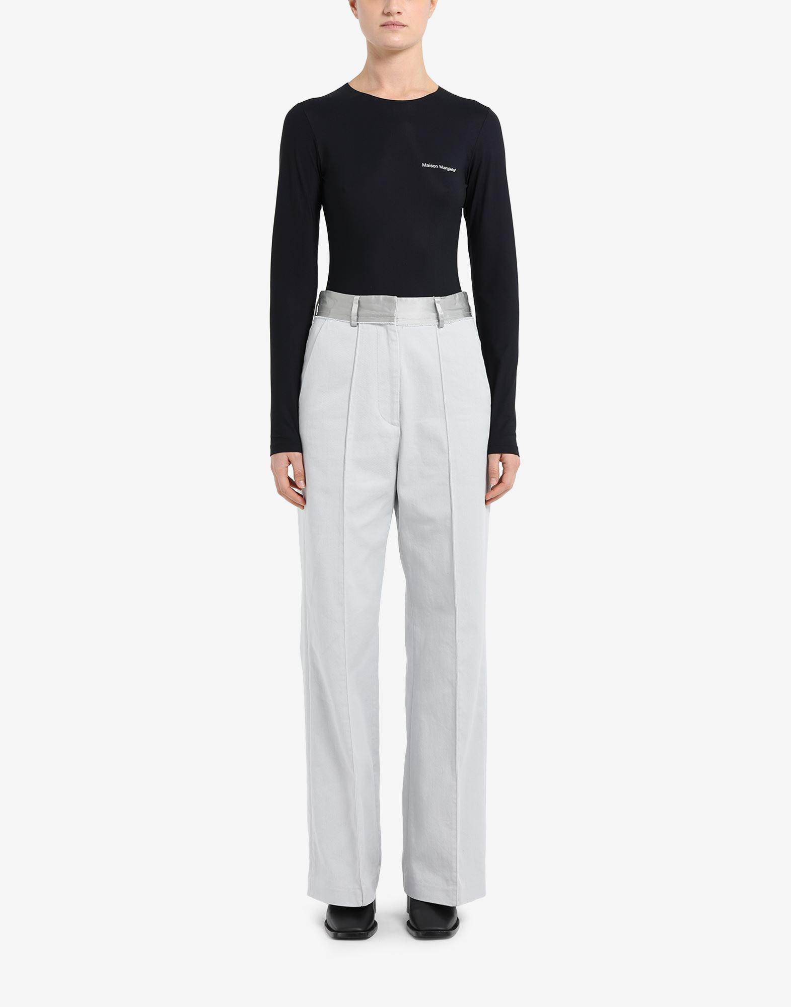 Spliced cotton trousers