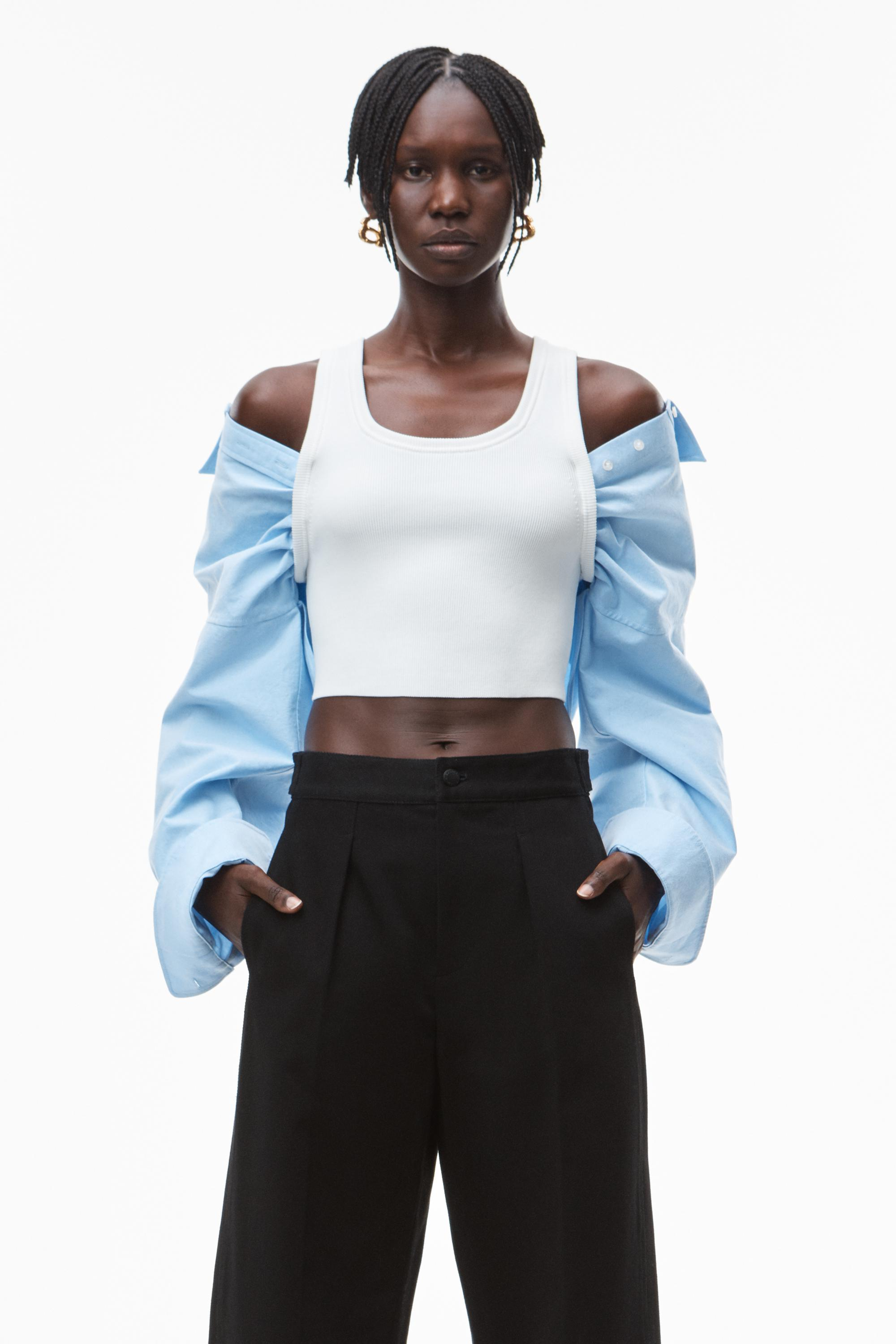 hybrid top in cotton rib and oxford