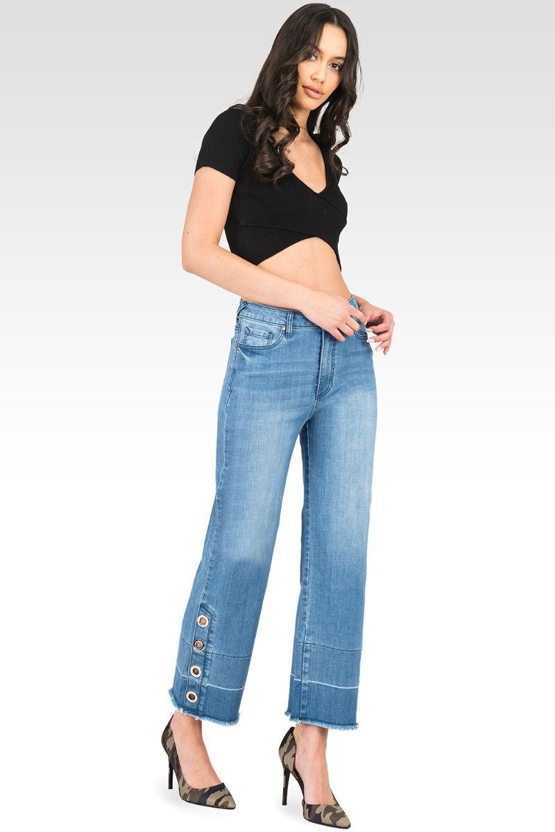 Meryl High-Rise Light Wash Cropped Jeans with Silver Grommets & Wide Released Hem 2