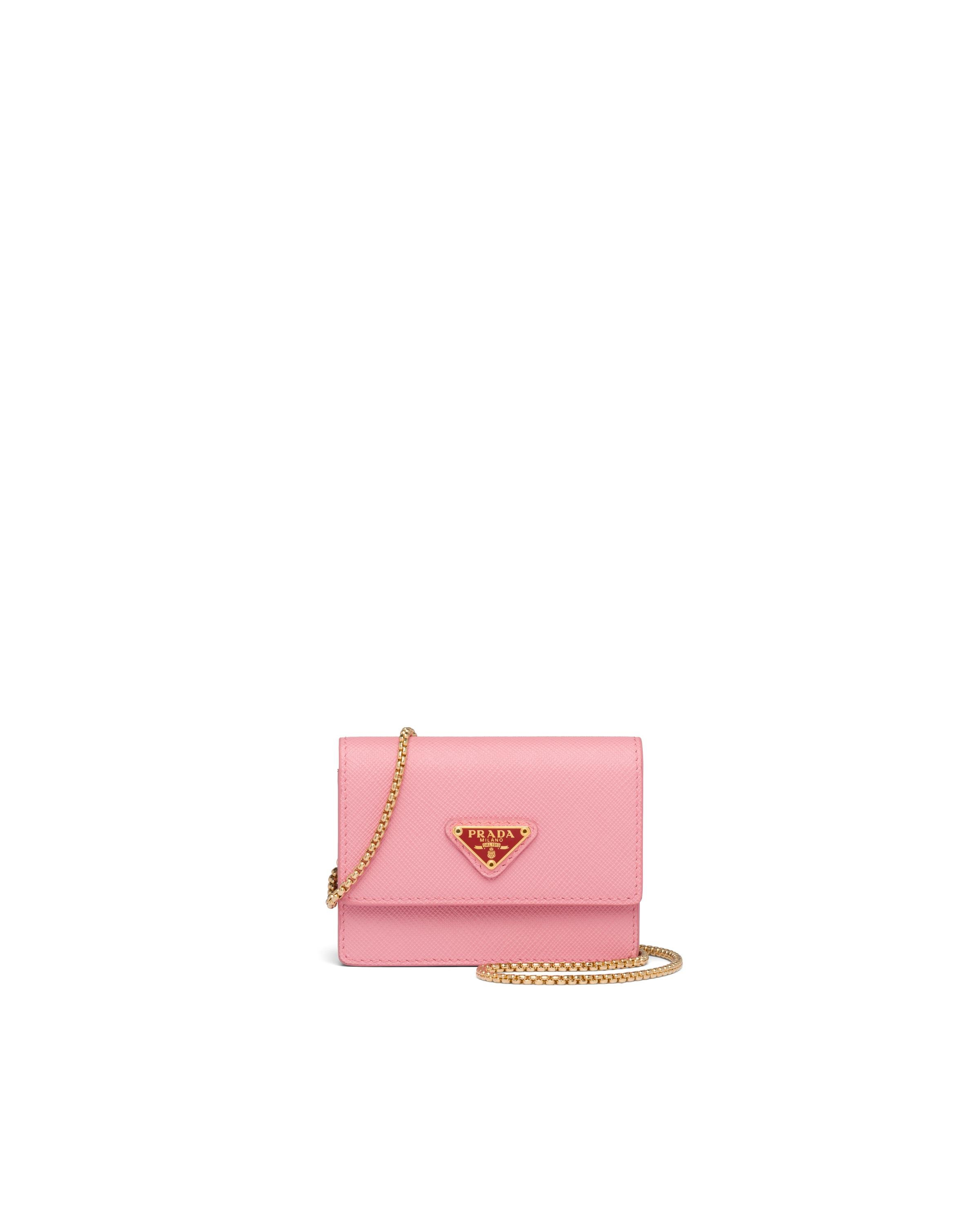 Saffiano Leather Card Holder With Chain Women Petal Pink/fiery Red 4