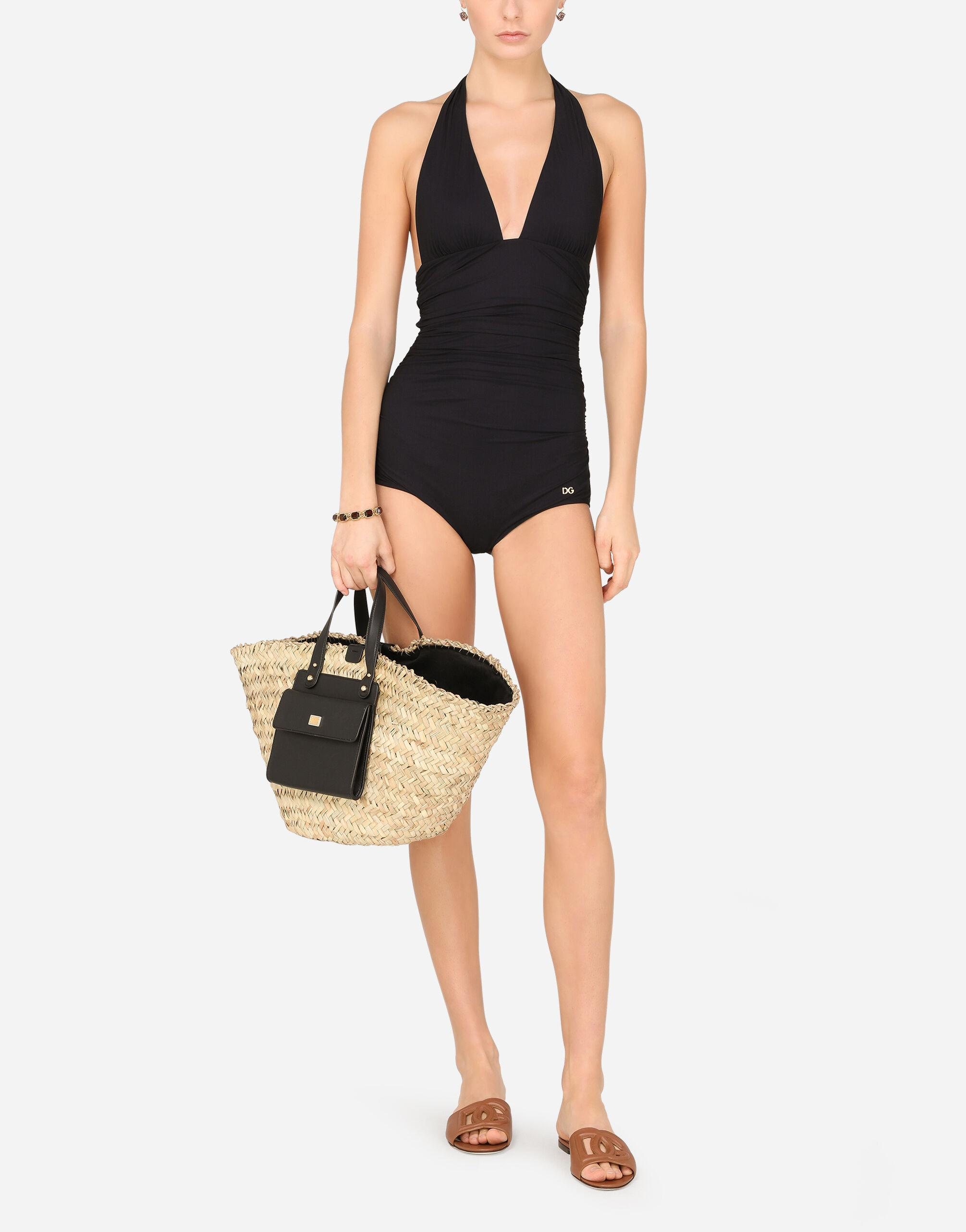 One-piece swimsuit with plunging neckline
