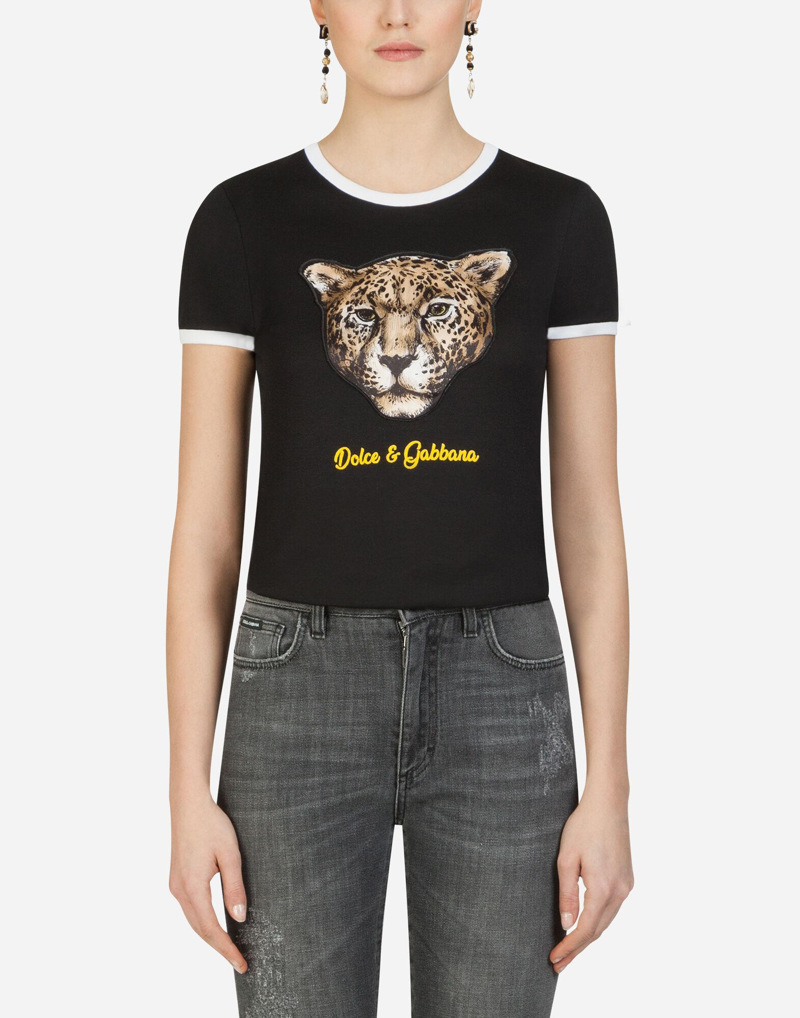 T-shirt with leopard patch