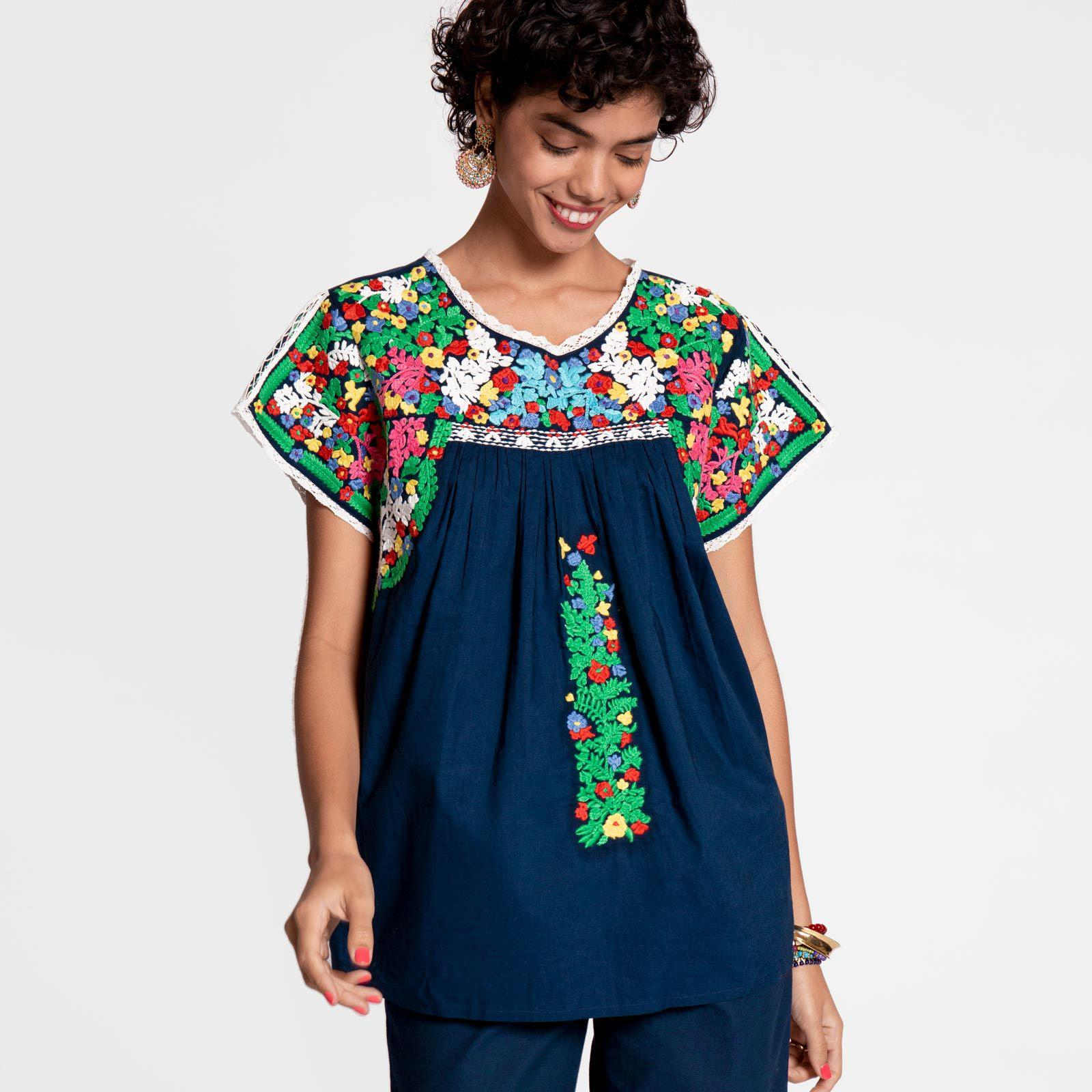 Embroidered Flower Top Navy