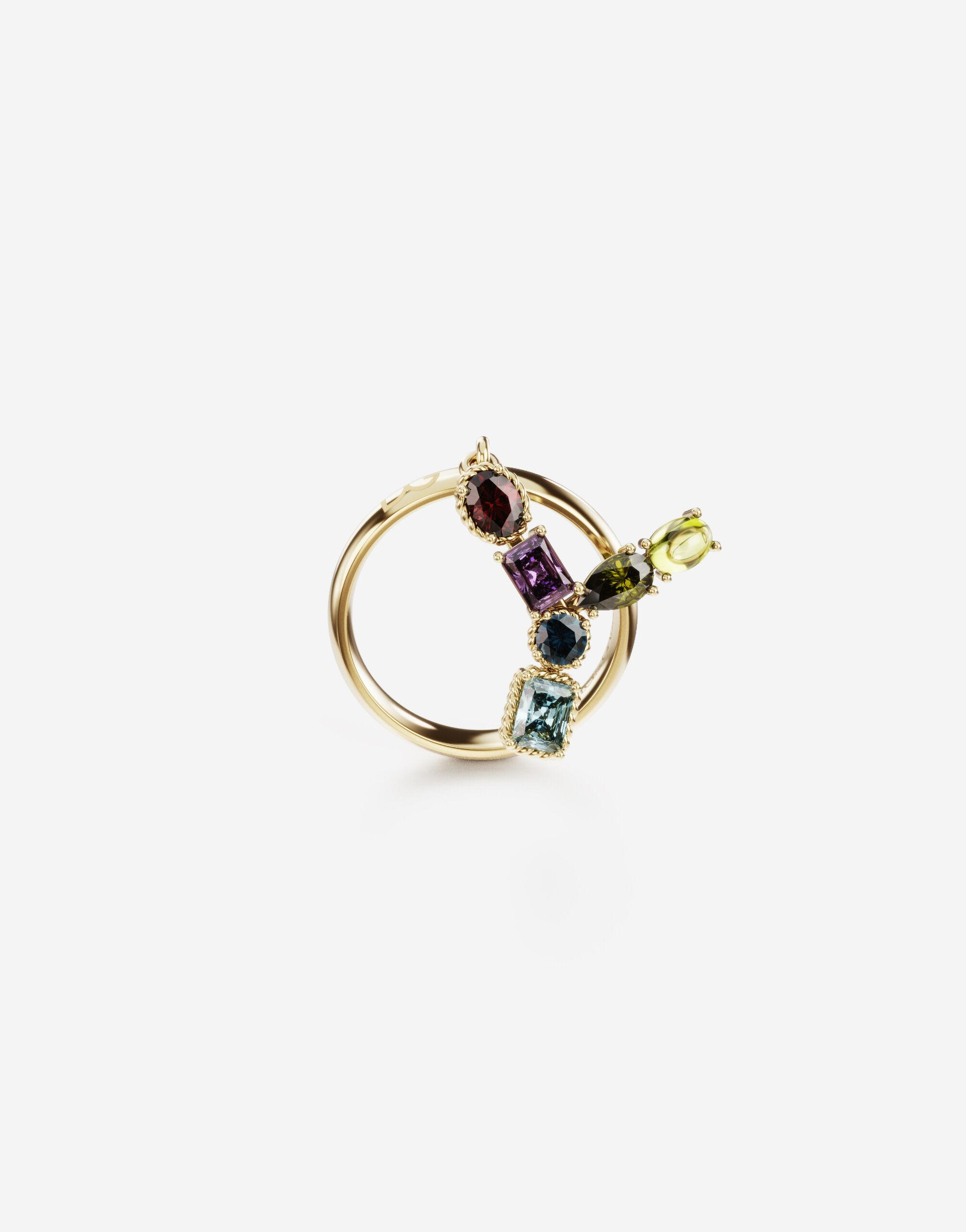 Rainbow alphabet Y ring in yellow gold with multicolor fine gems