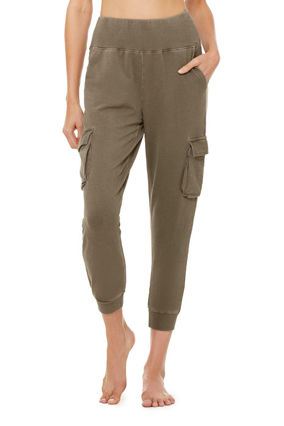 Washed 7/8 High-Waist Cargo Sweatpant - Olive Branch Wash