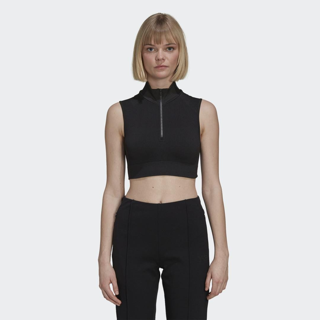 Y-3 Classic Seamless Knit Sport Top (Cropped) Black