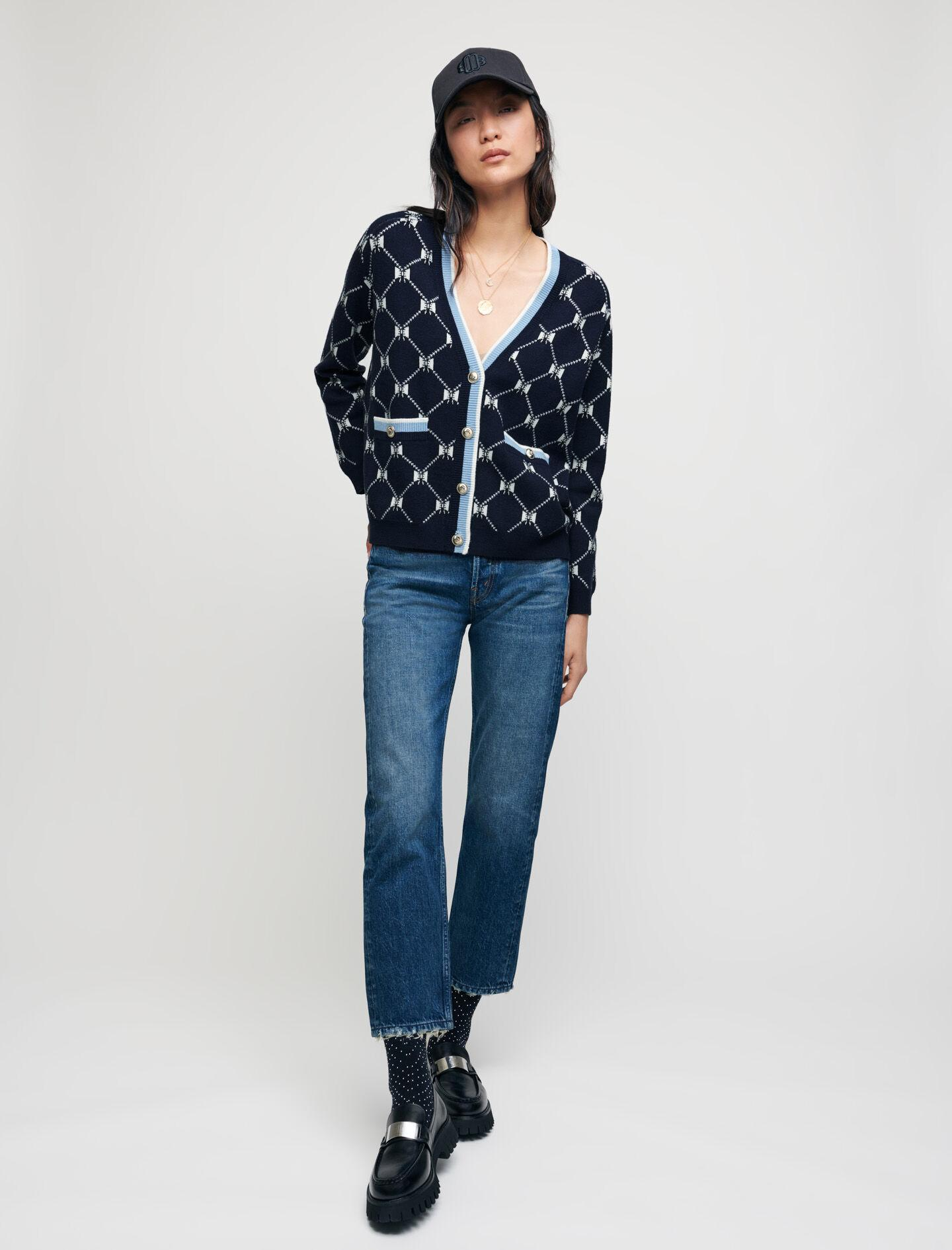 JACQUARD CARDIGAN WITH CONTRASTING BOWS