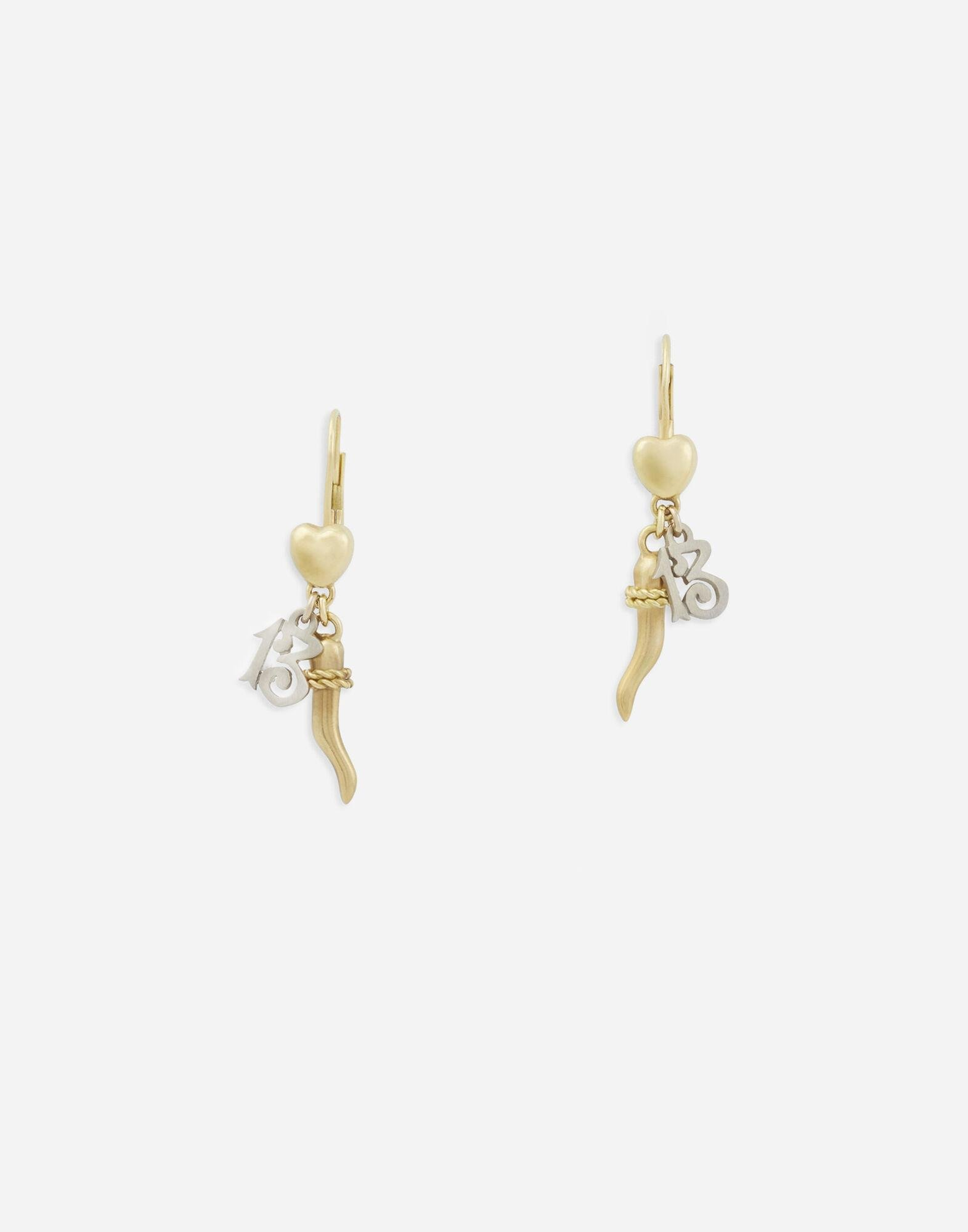 Family earrings in yellow and white gold