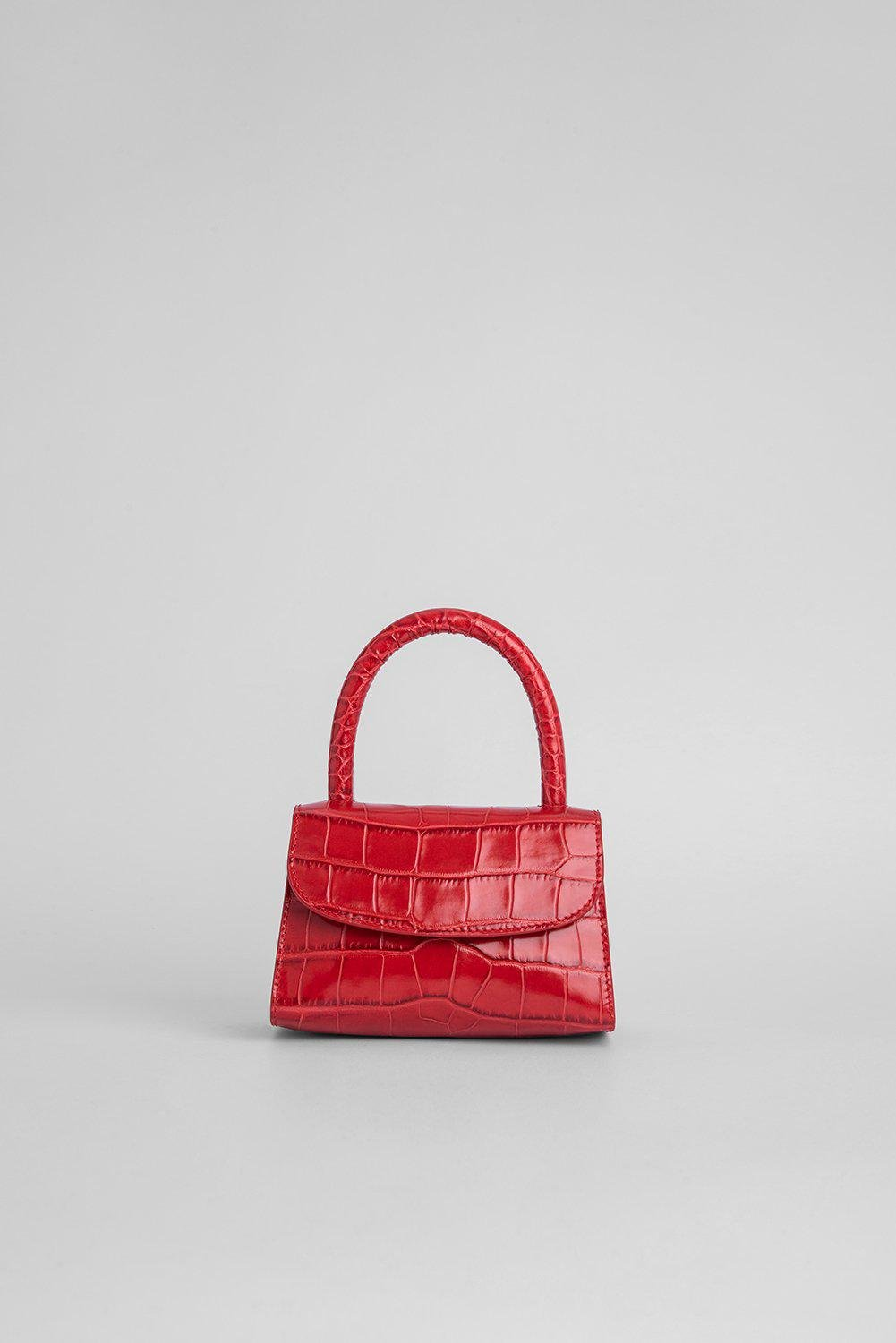 Mini Red Croco Embossed Leather