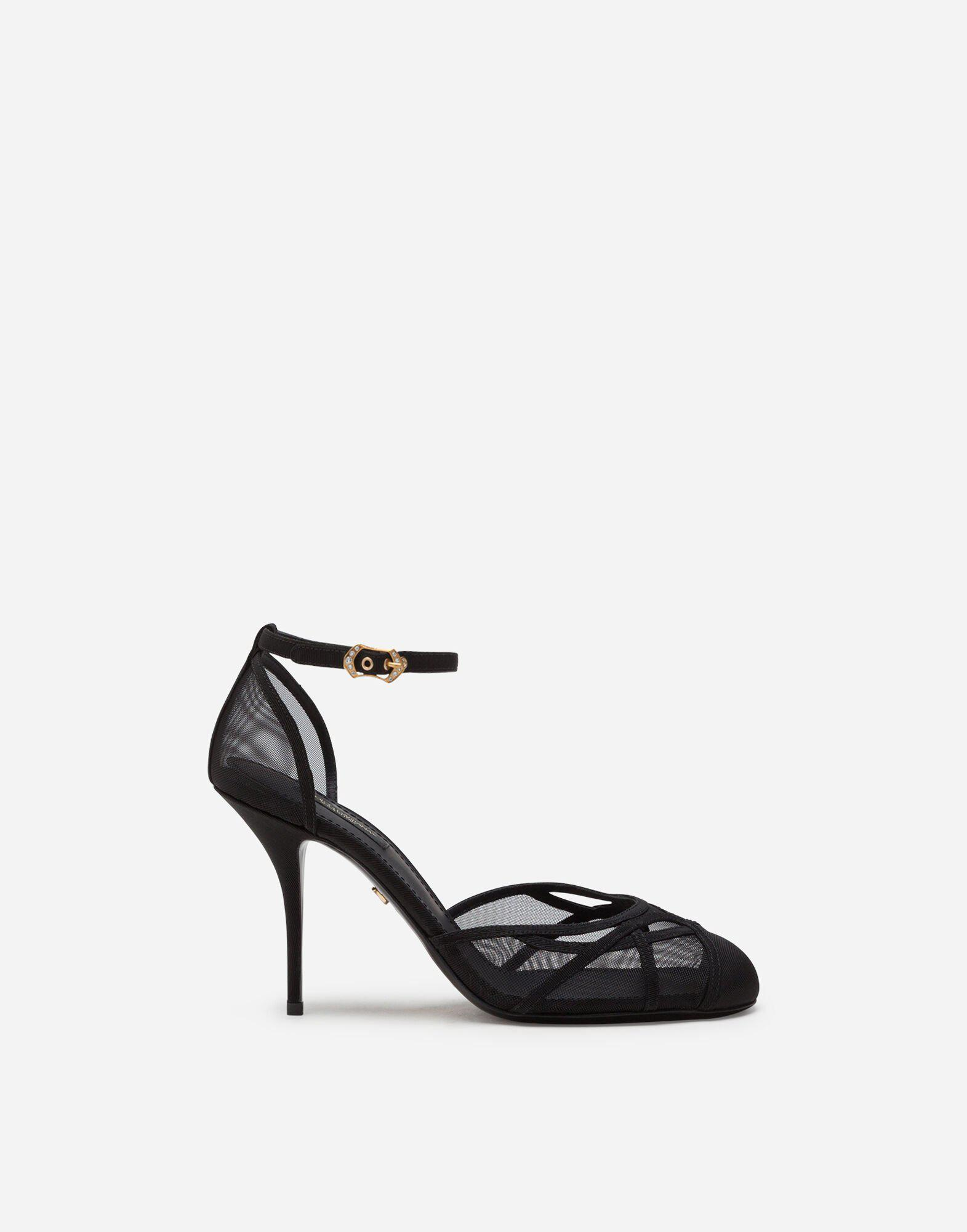 Ankle strap sandals in mesh and grosgrain 0
