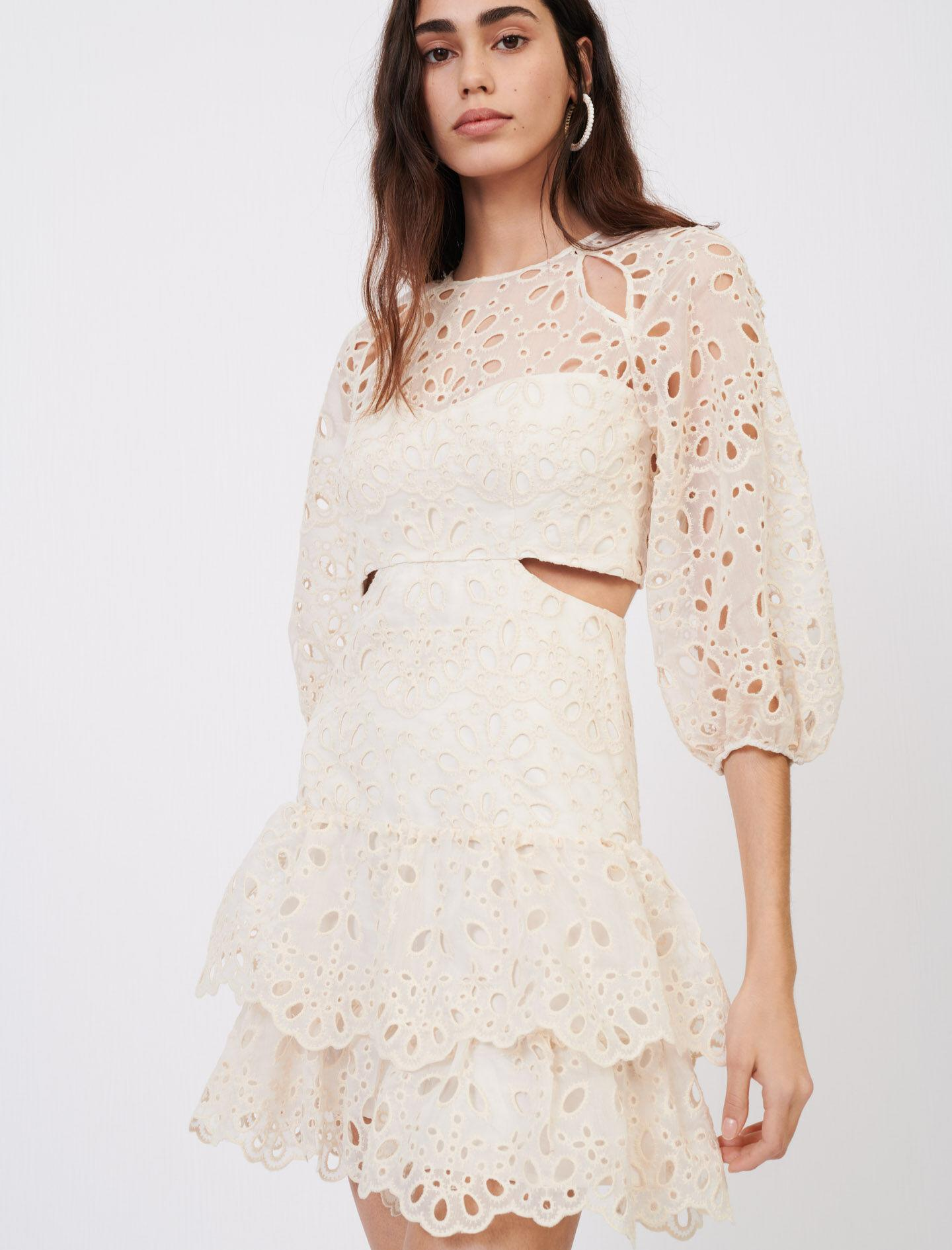 EYELET MINI DRESS WITH CUT-OUTS