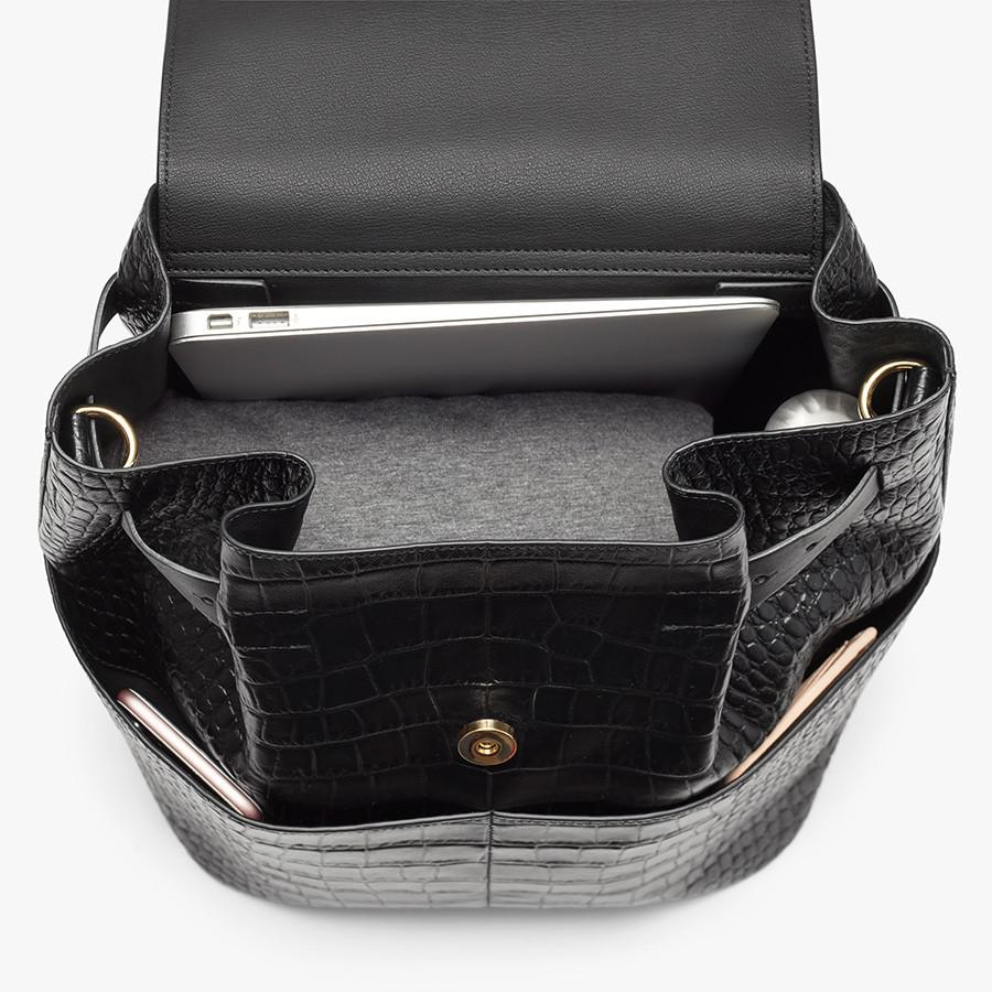 Women's Leather Backpack in Textured Black | Croc-Embossed by Cuyana 3
