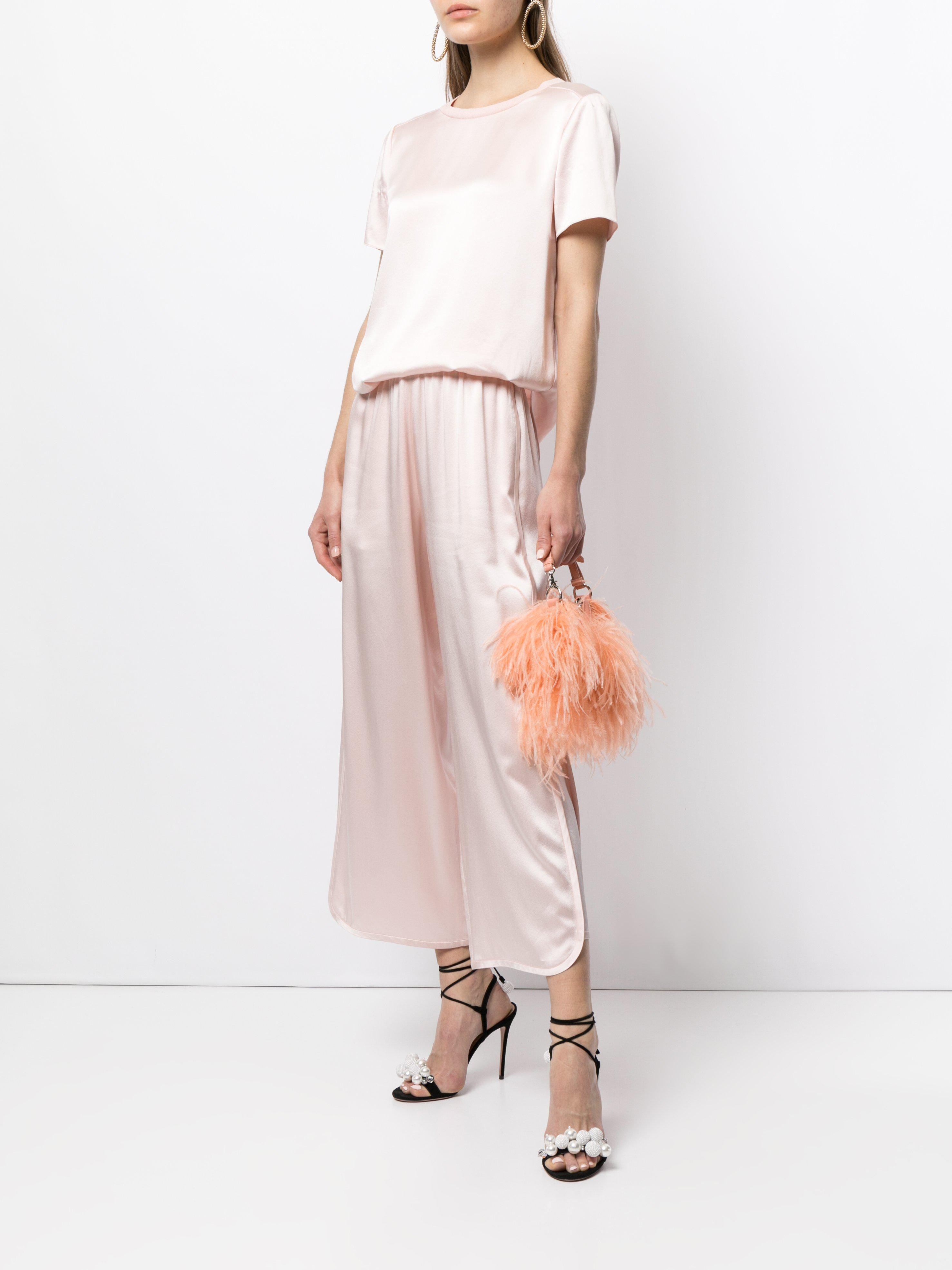 CROPPED TRACK PANT IN SILK CHARMEUSE