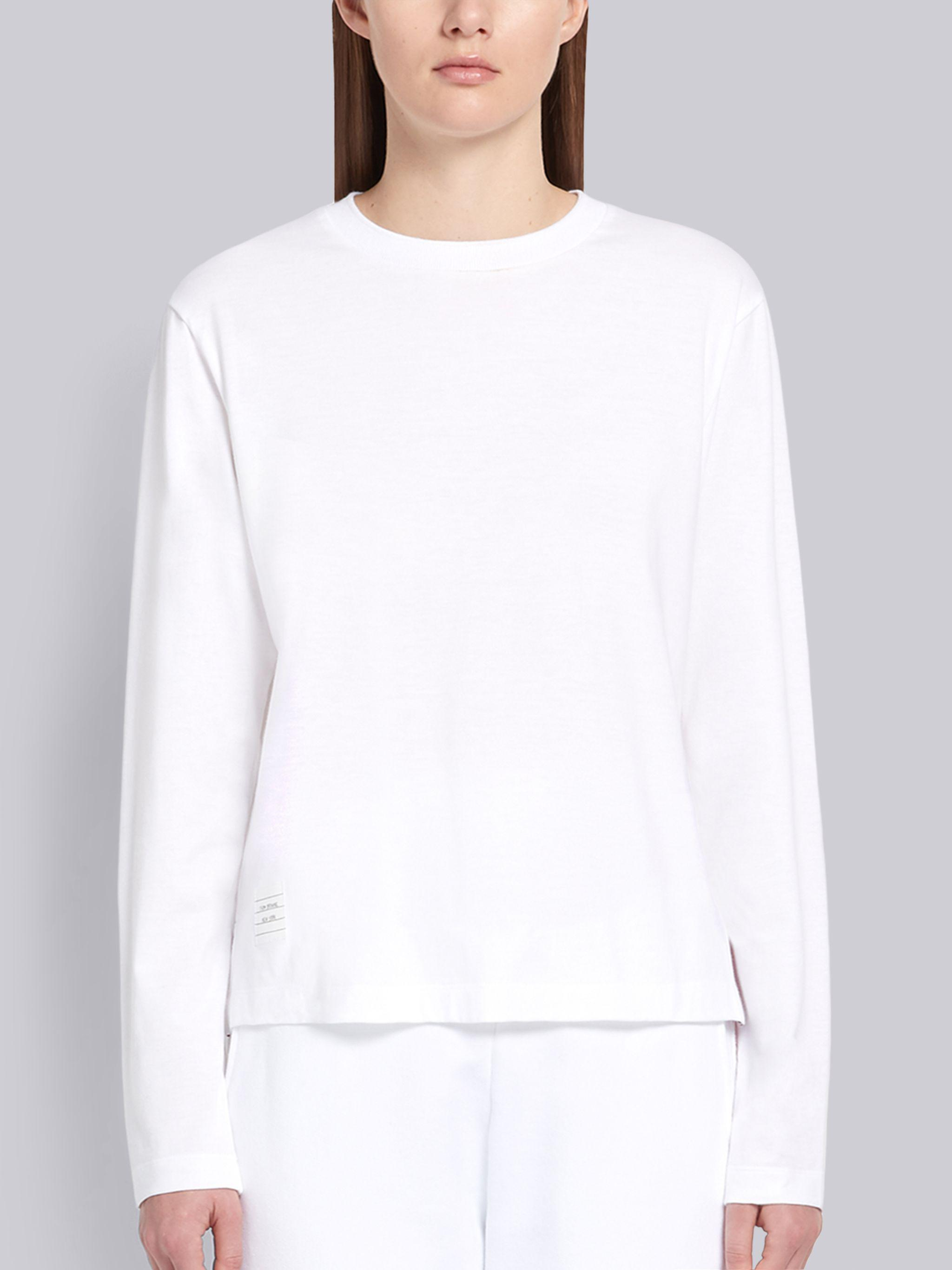 White Lightweight Jersey Relaxed Fit Logo Patch Long Sleeve Tee
