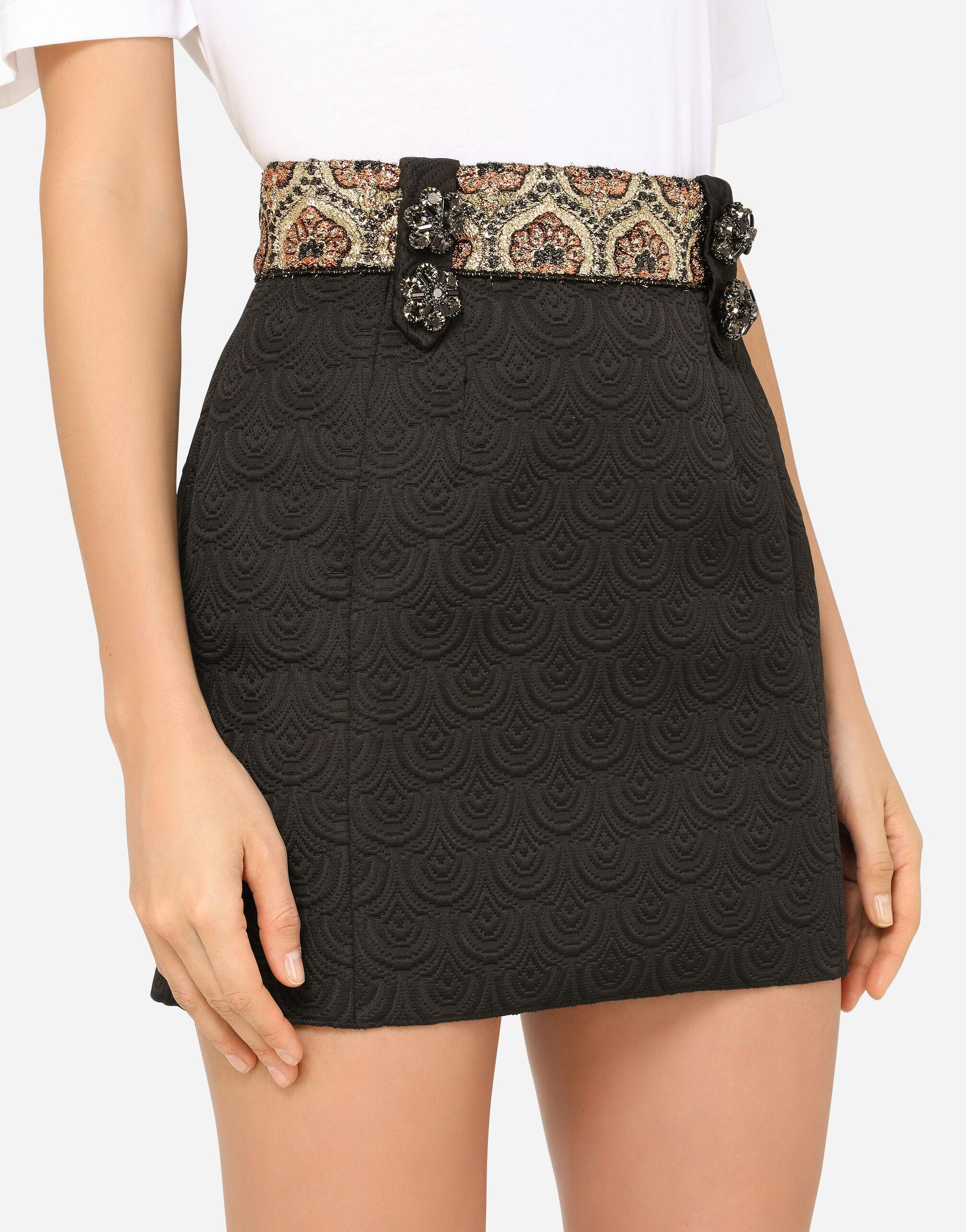 Short jacquard skirt with bejeweled buttons 2
