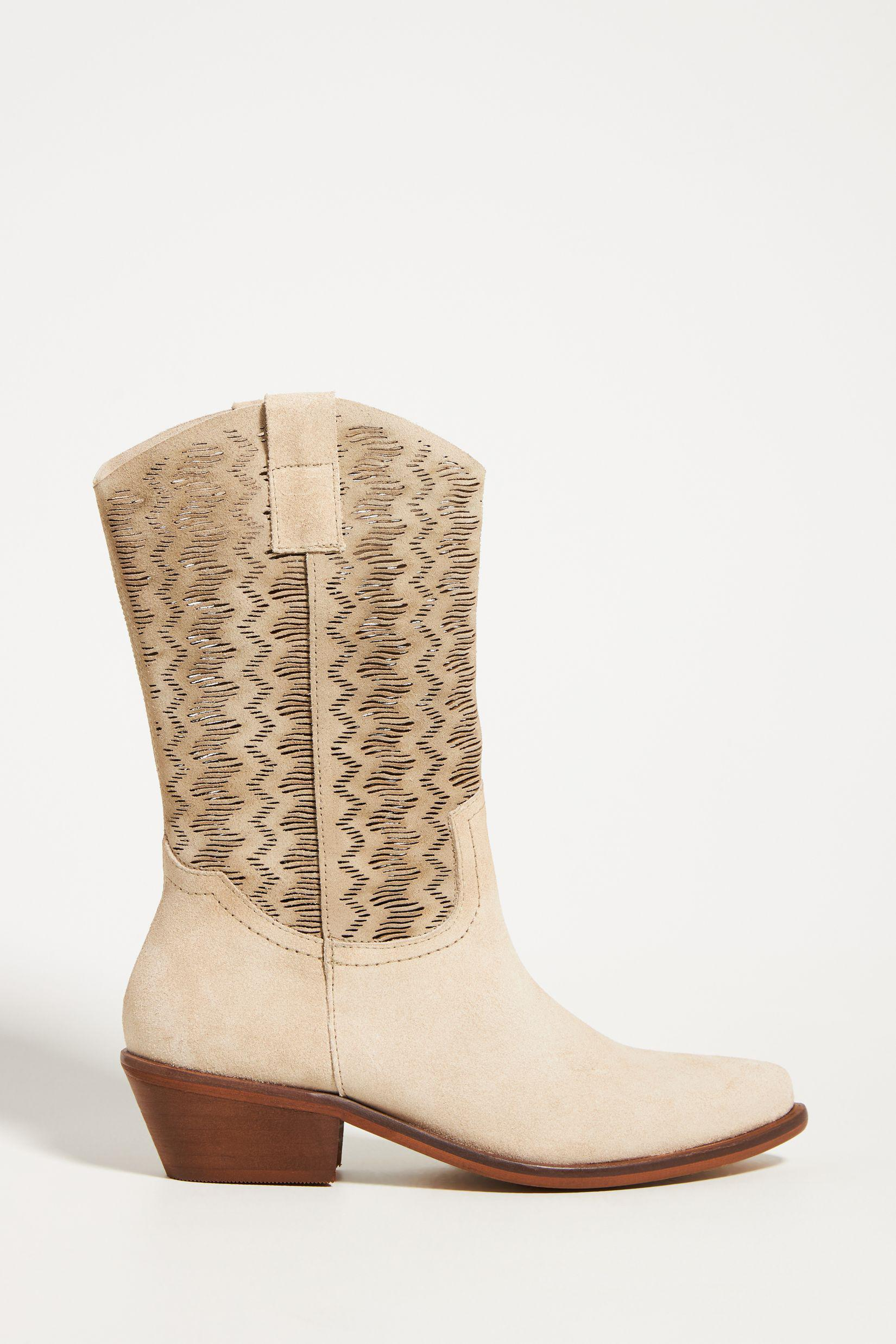 Cut-Out Suede Western Boots 0