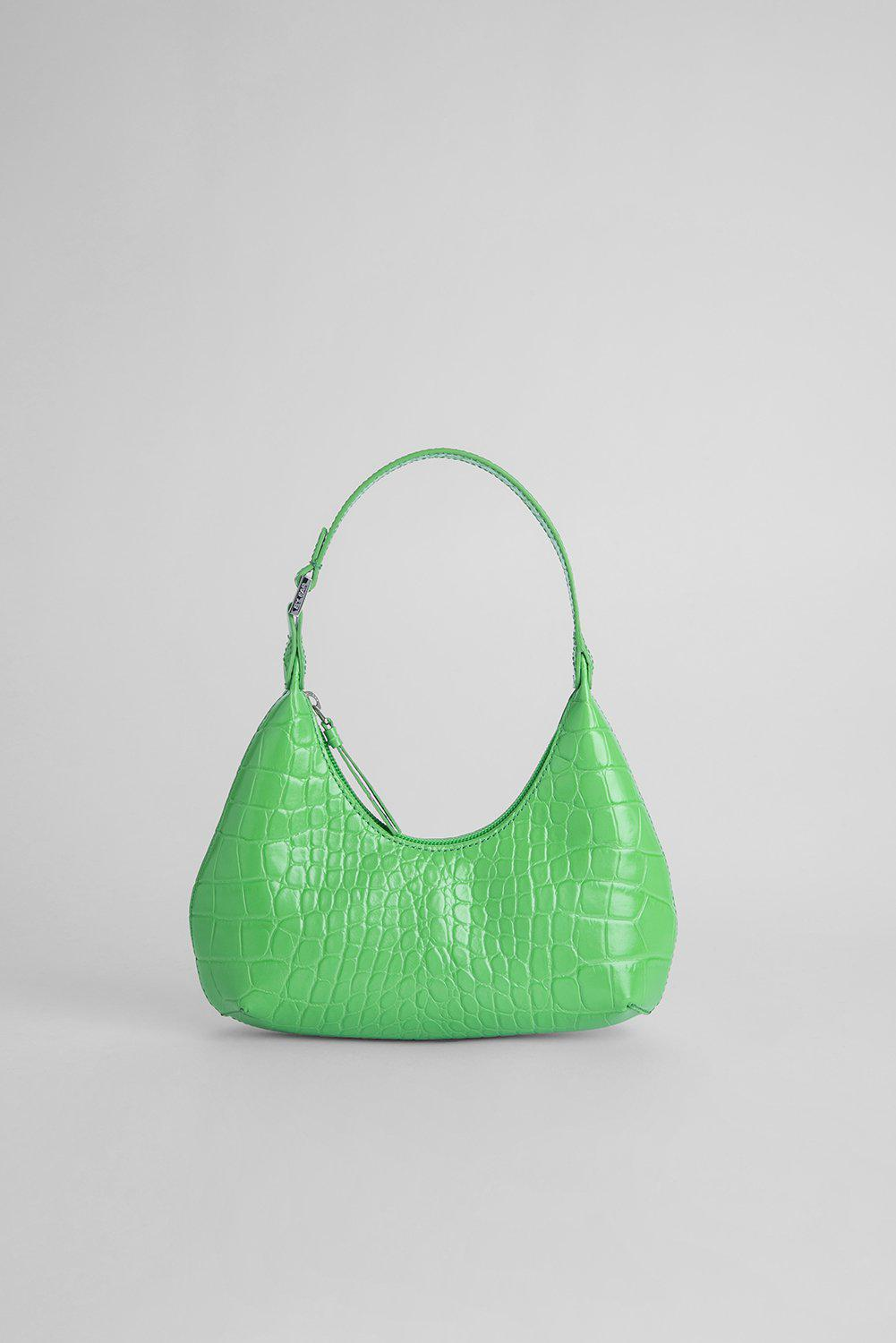 Baby Amber Grass Croco Embossed Leather
