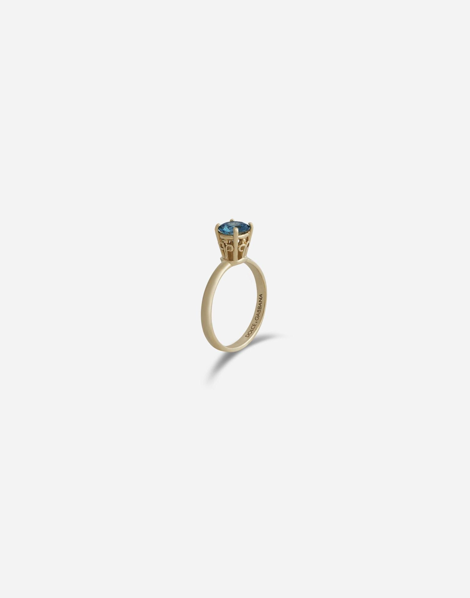 Heritage ring in yellow gold with zircon 1