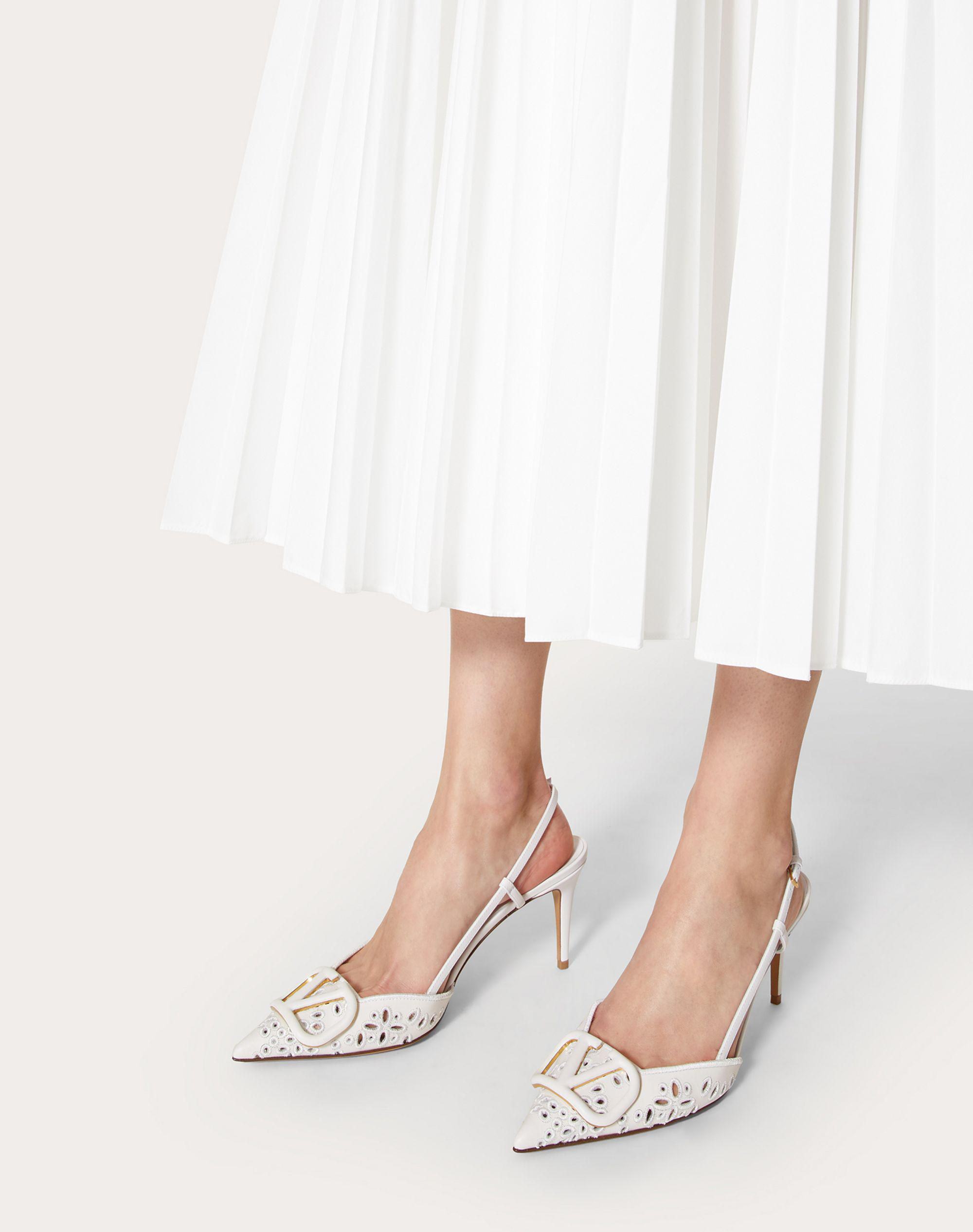 VLOGO SIGNATURE CALFSKIN SLINGBACK PUMP WITH SAN GALLO EMBROIDERY 80 MM 5