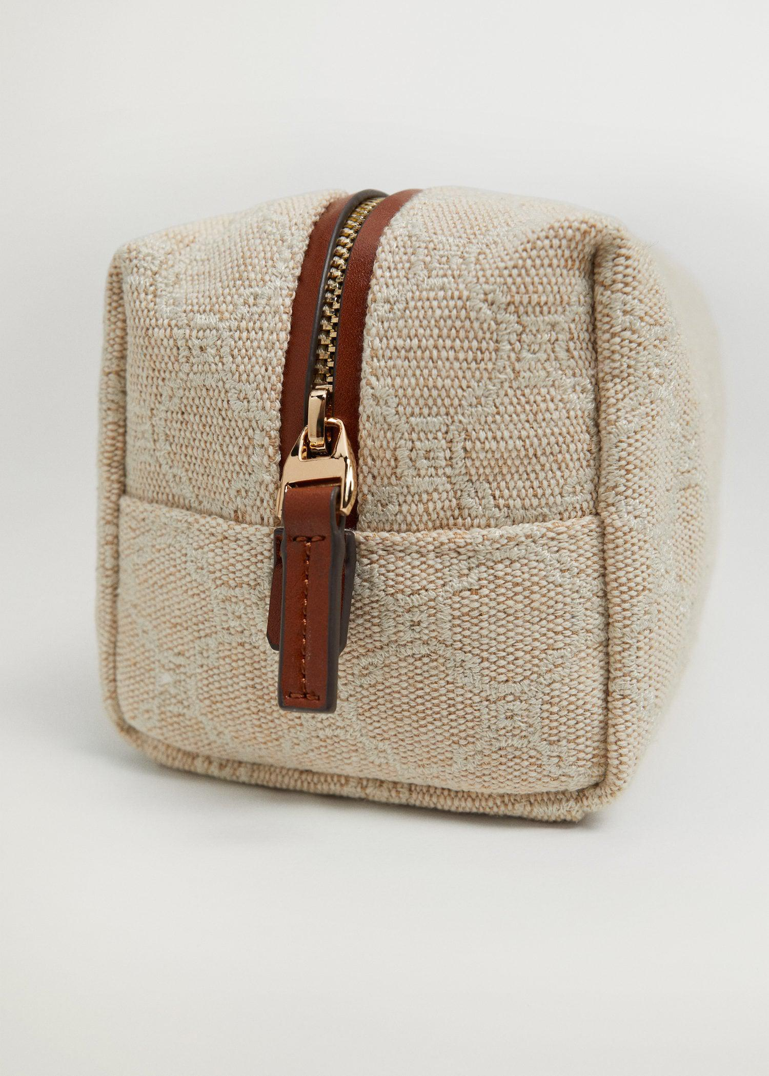 Embroidered jute cosmetic bag 2